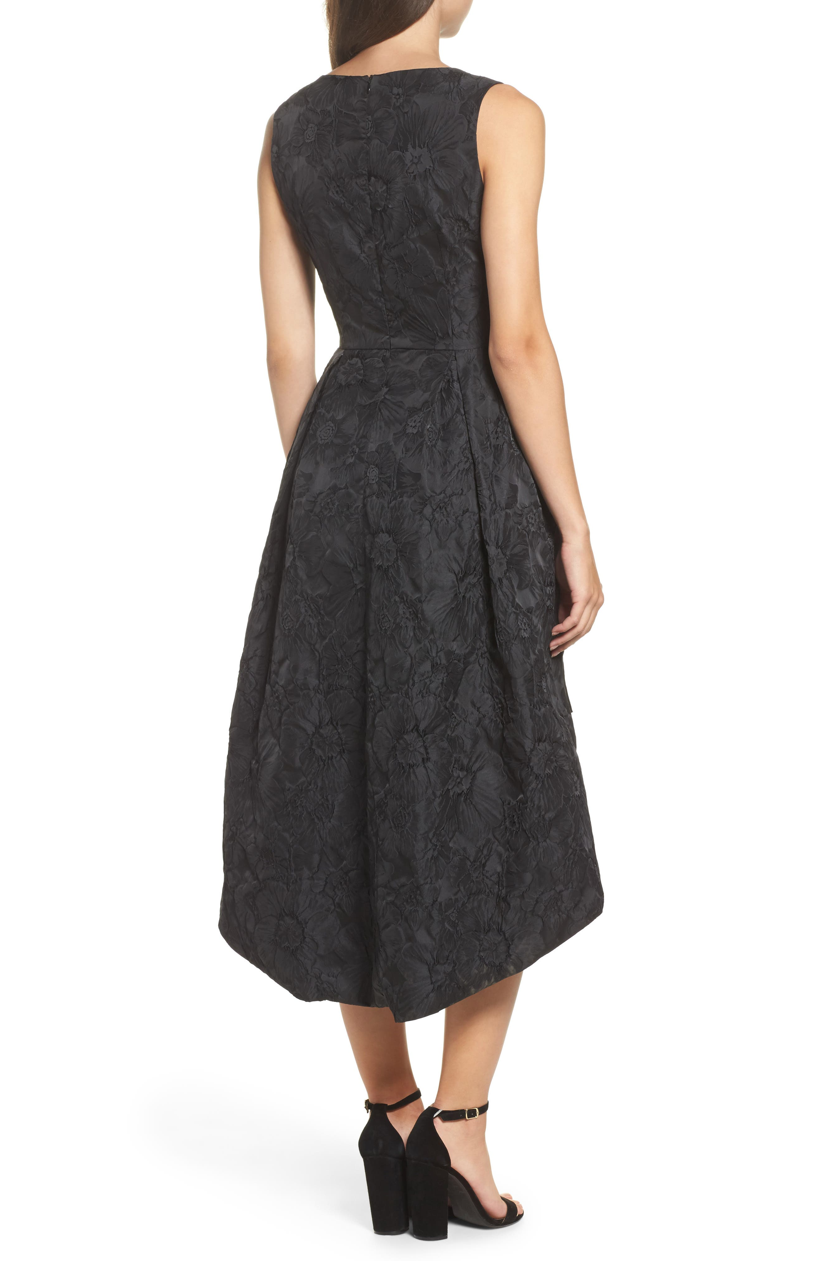 Forest Lily Jacquard High/Low Dress,                             Alternate thumbnail 2, color,                             001