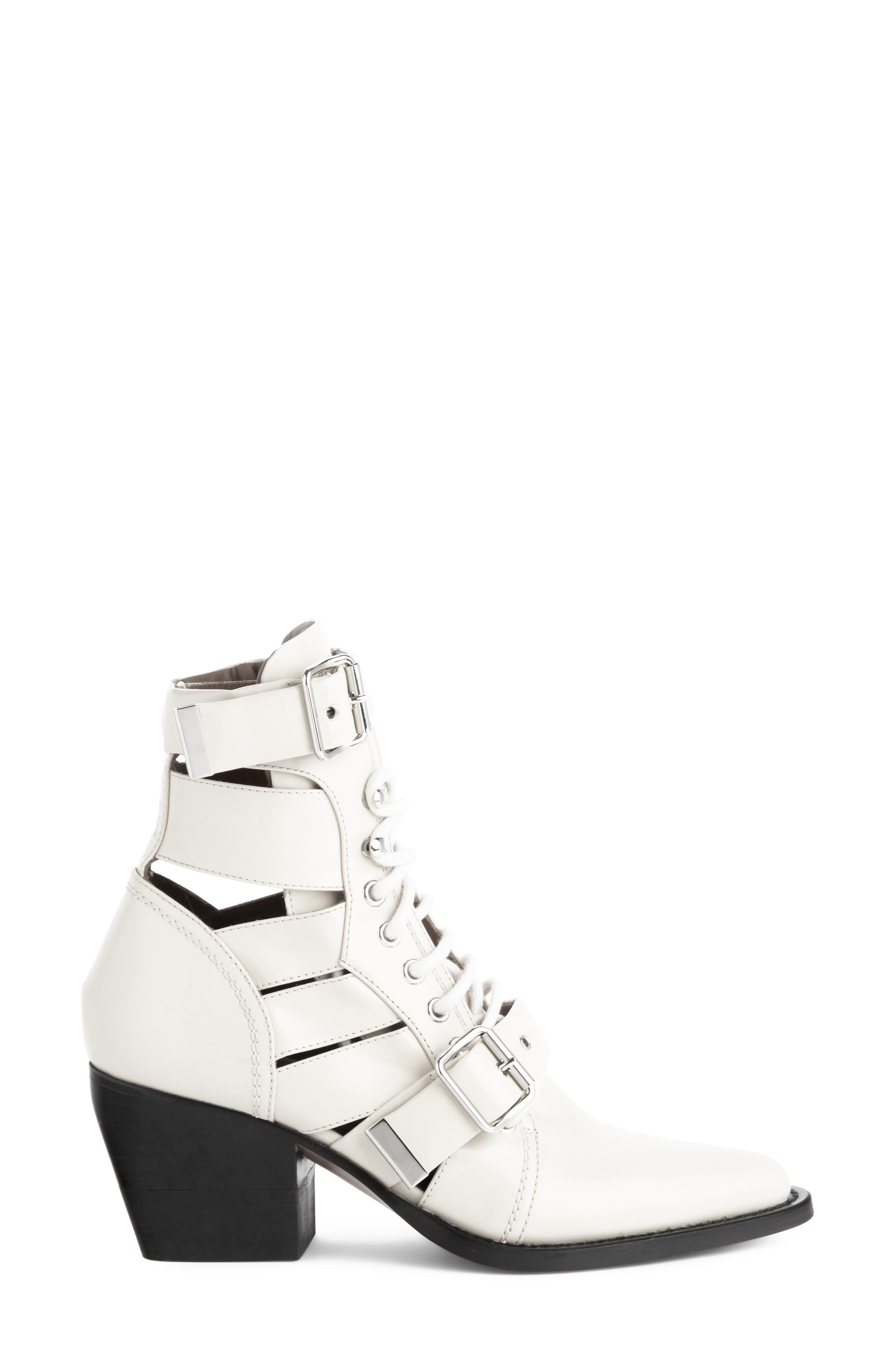 CHLOÉ,                             Rylee Caged Pointy Toe Boot,                             Alternate thumbnail 3, color,                             WHITE