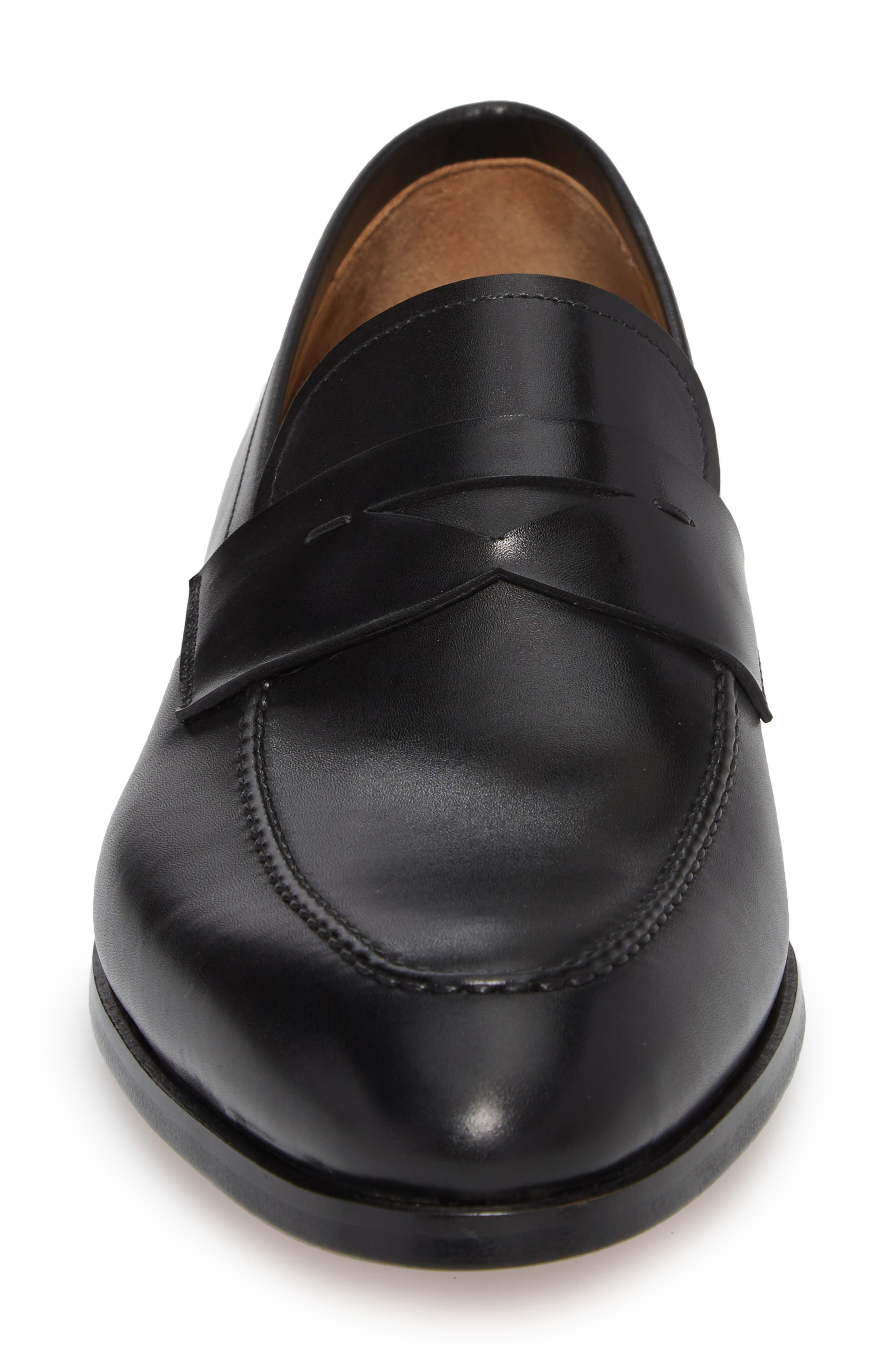 Rolly Apron Toe Penny Loafer,                             Alternate thumbnail 4, color,                             BLACK LEATHER