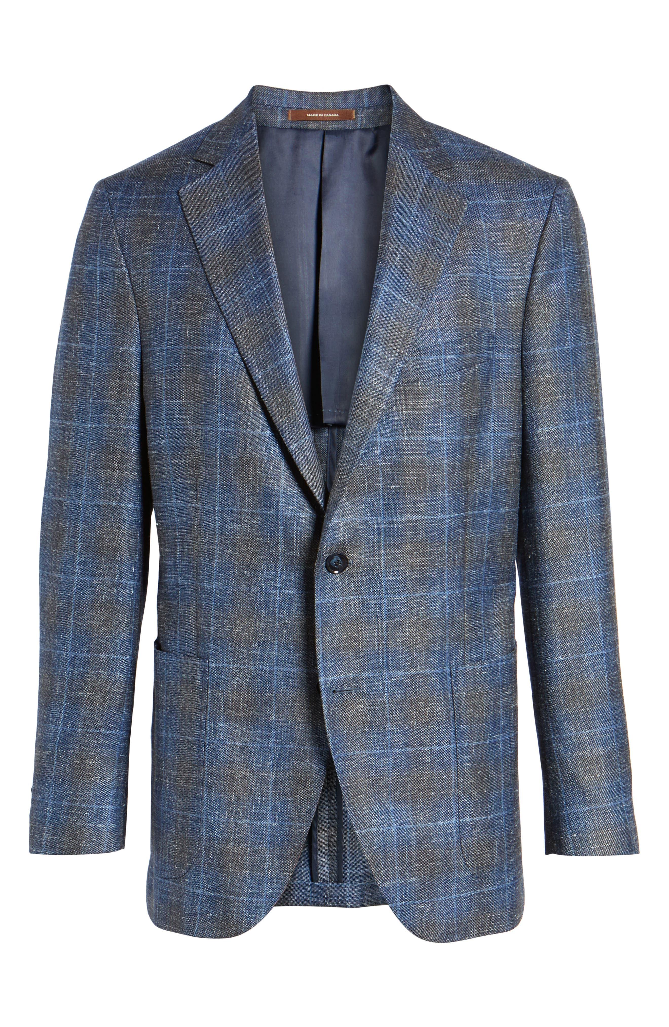 Classic Fit Plaid Wool Blend Sport Coat,                             Alternate thumbnail 5, color,                             400