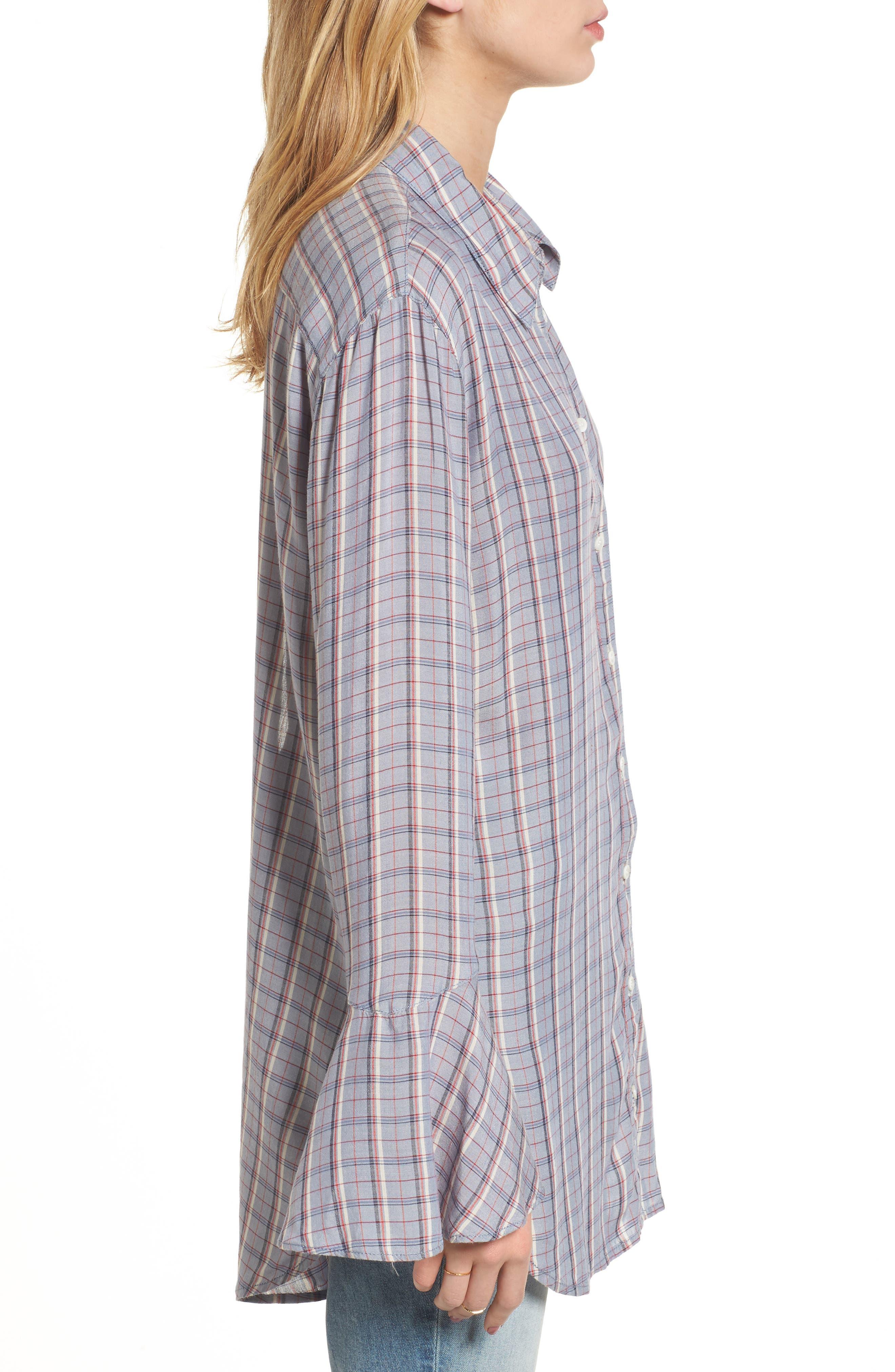 Plaid Drapey Shirt,                             Alternate thumbnail 3, color,                             400