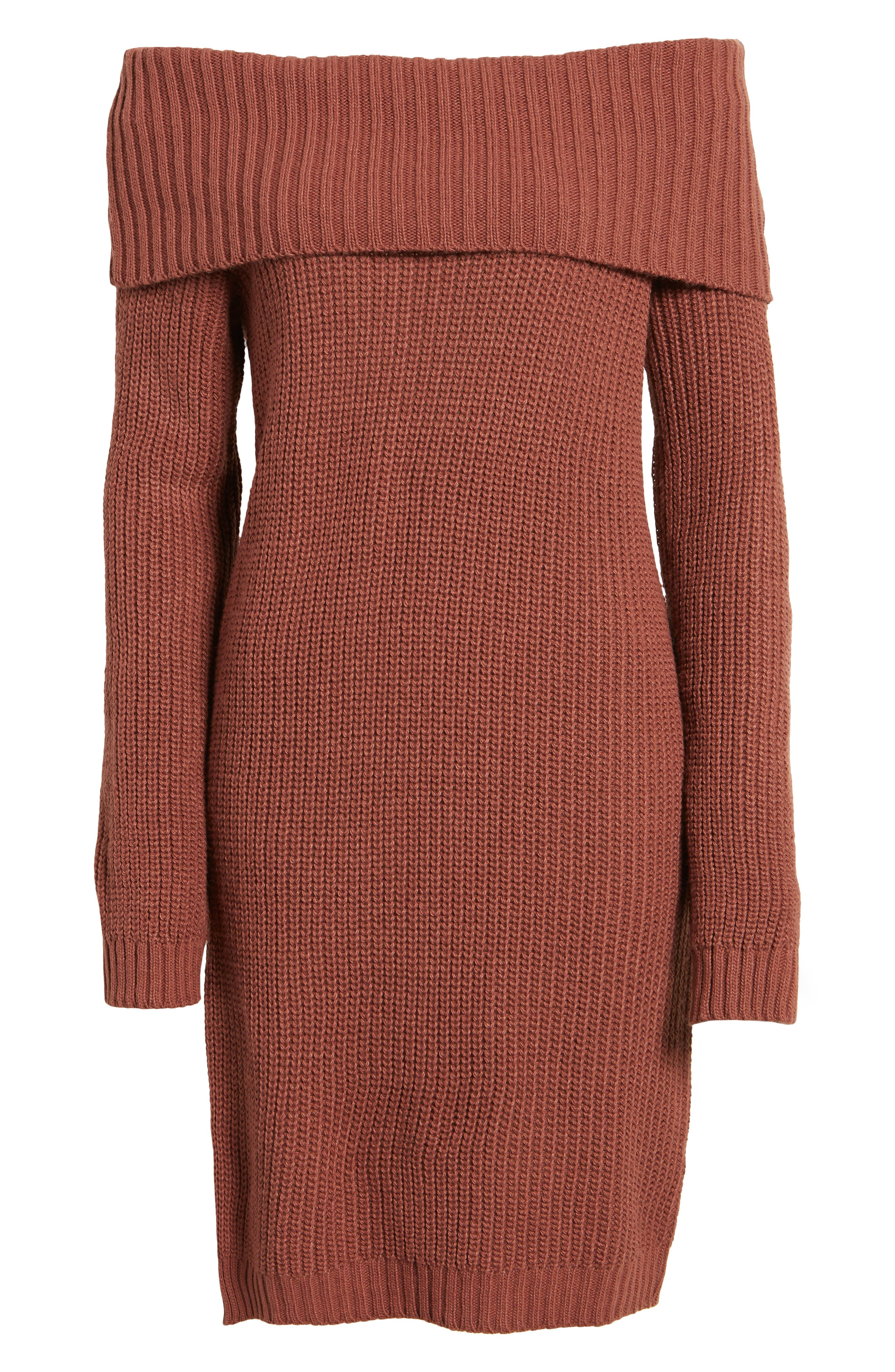 Foldover Off the Shoulder Sweater Dress,                             Alternate thumbnail 23, color,