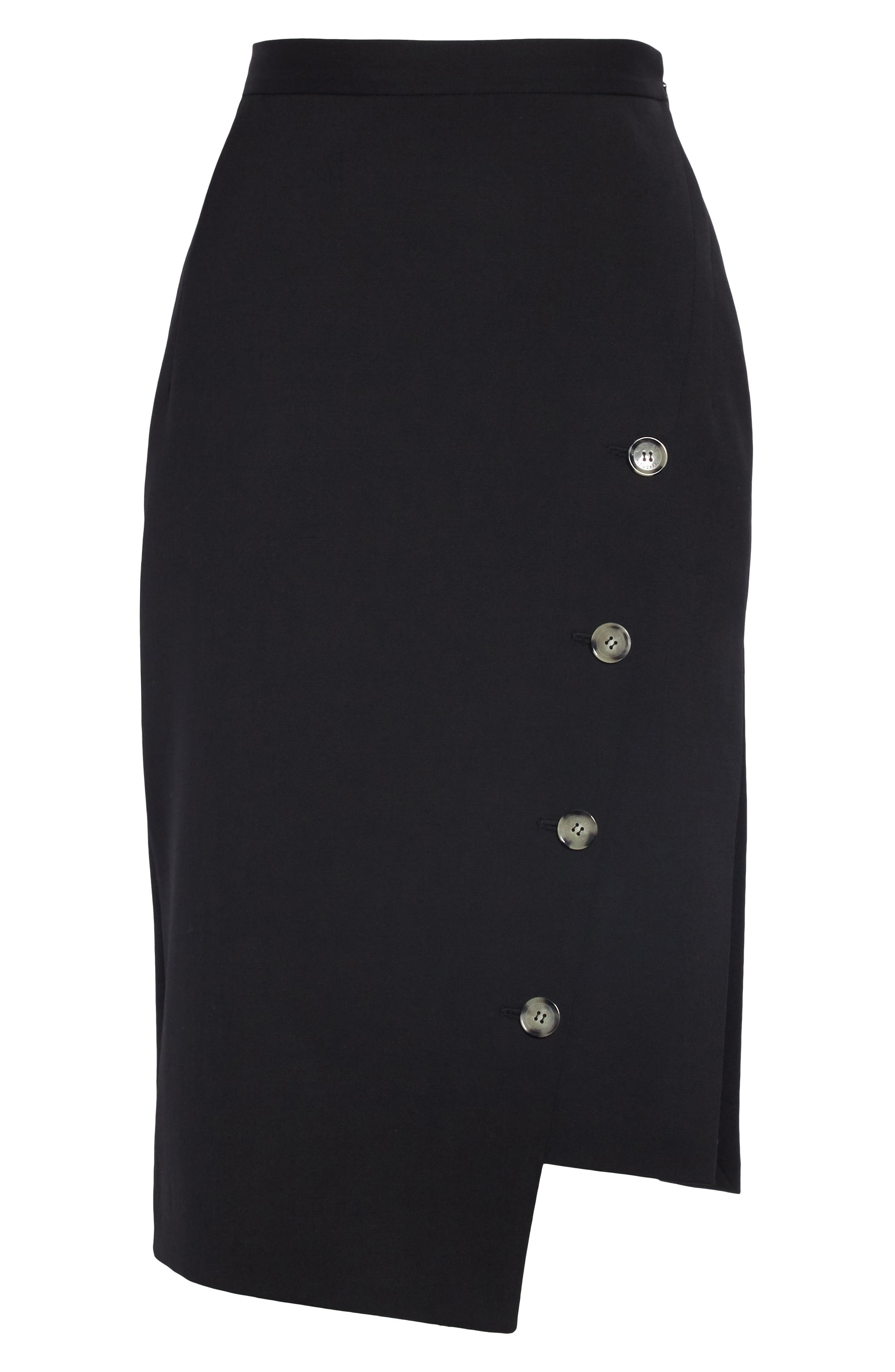 Button Detail Slit Stretch Wool Pencil Skirt,                             Alternate thumbnail 6, color,                             001 BLACK