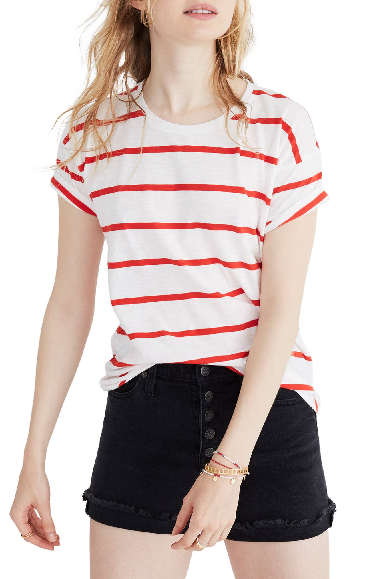 Whisper Cotton Crewneck Tee,                         Main,                         color, BRIGHT IVORY/ RED