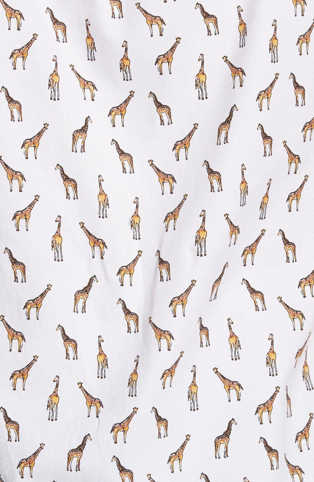 'Giraffe Tower Print' Slim Fit Short Sleeve Sport Shirt,                             Alternate thumbnail 3, color,                             100