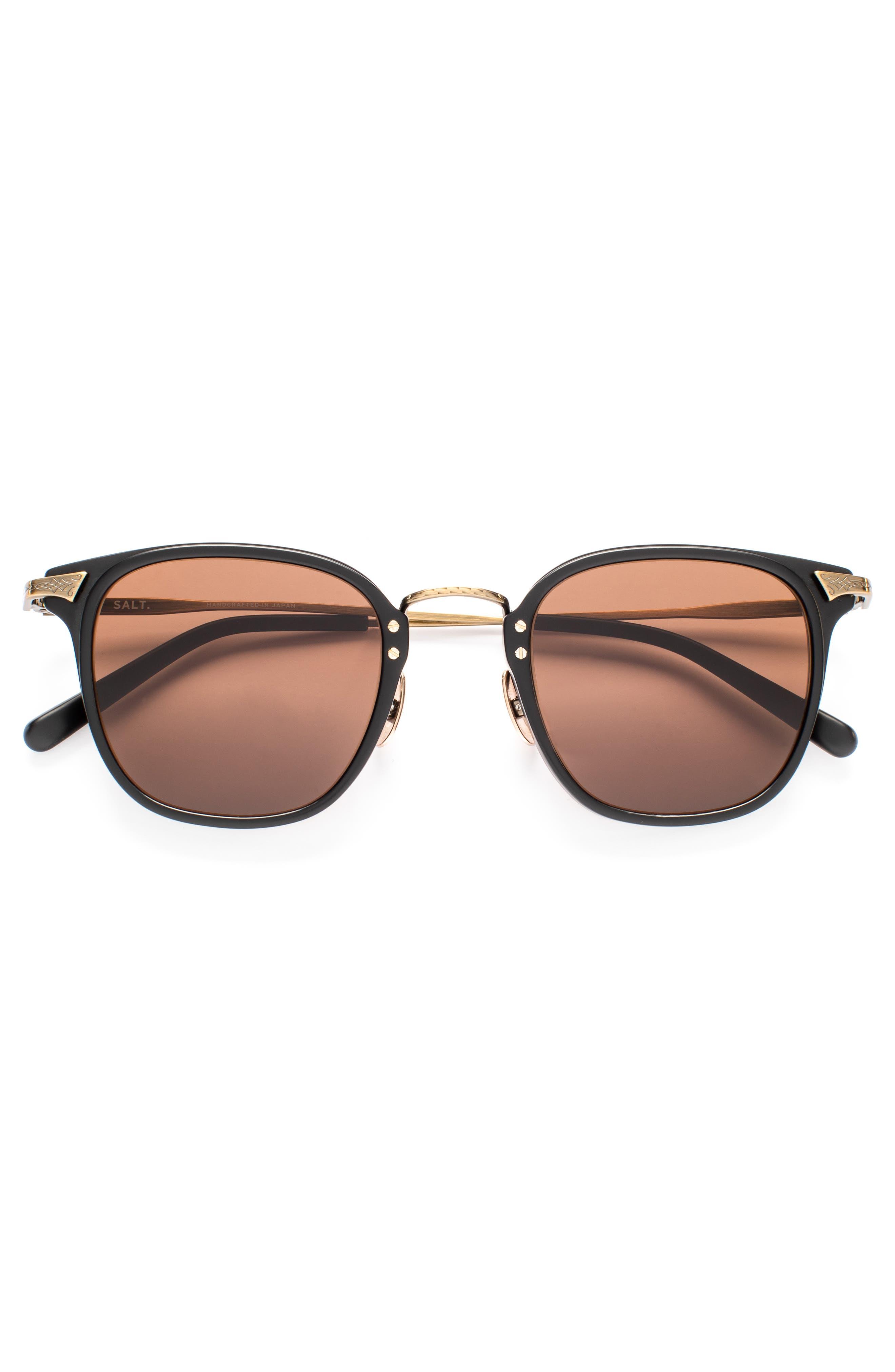 Hamilton 48mm Polarized Sunglasses,                             Alternate thumbnail 2, color,                             MATTE BLACK / ANTIQUE GOLD