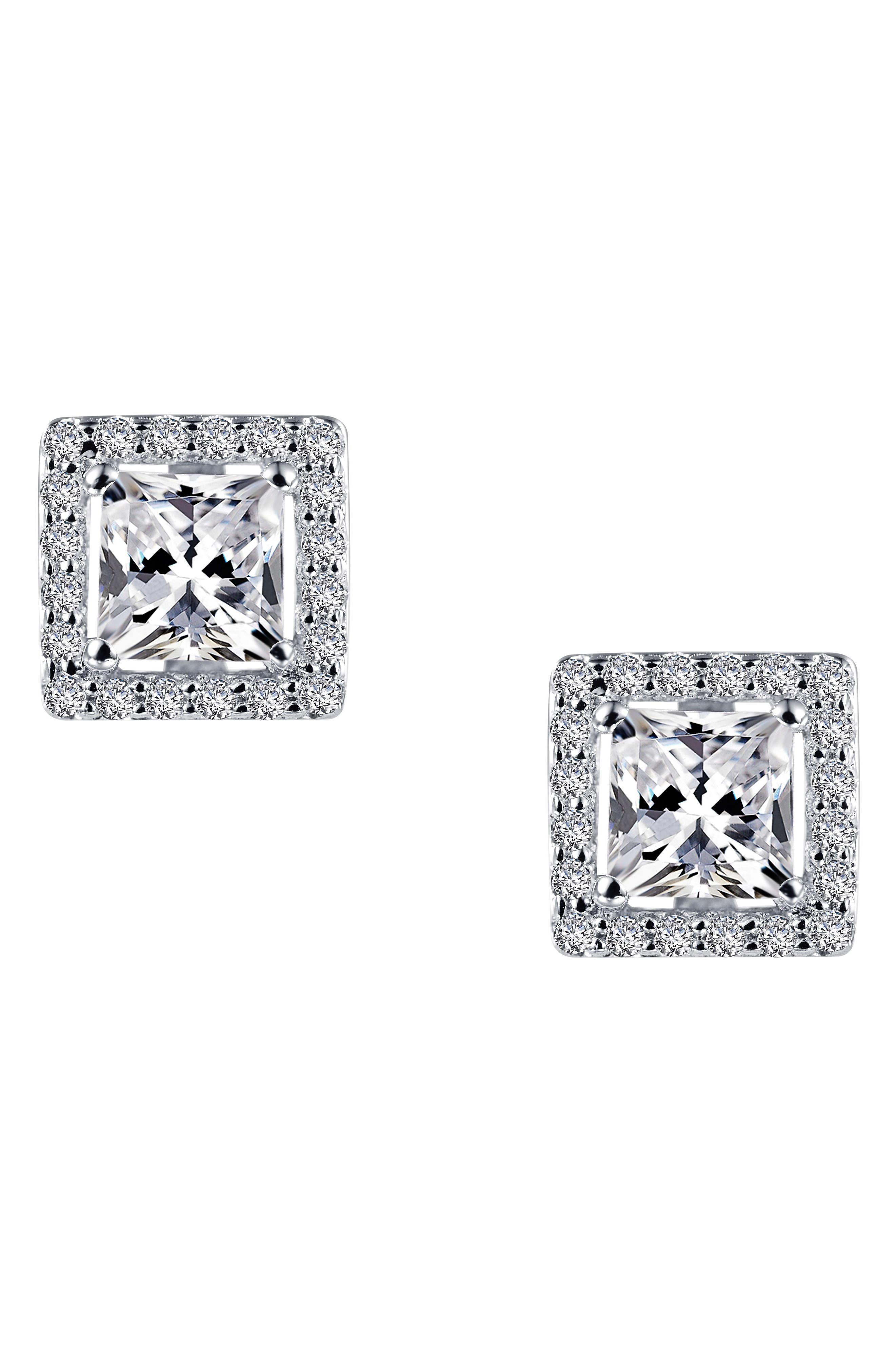 Princess Cut Simulated Diamond Stud Earrings,                             Alternate thumbnail 3, color,                             SILVER/ CLEAR