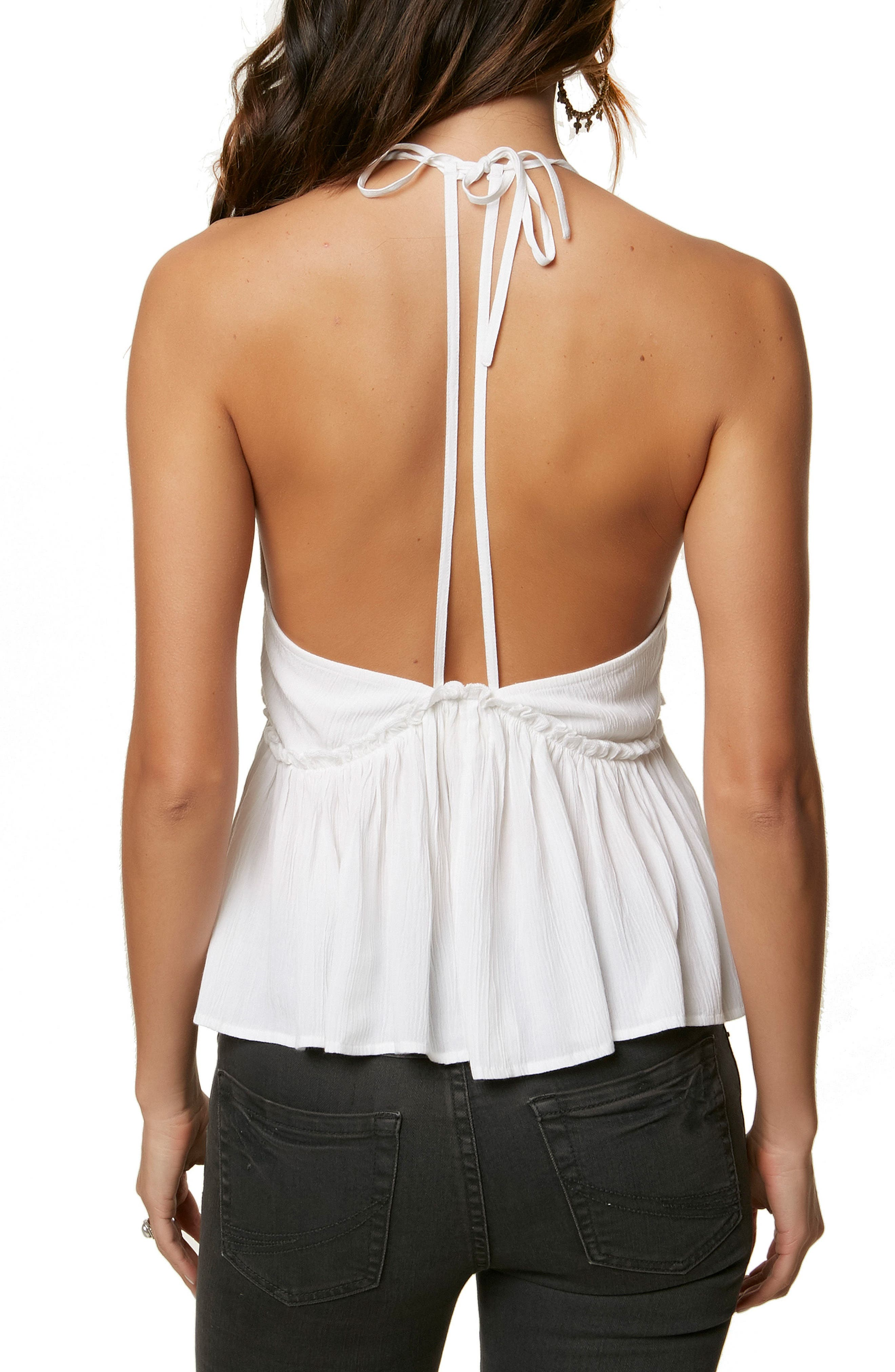 Davina Embroidered Halter Neck Tank,                             Alternate thumbnail 2, color,                             WHITE
