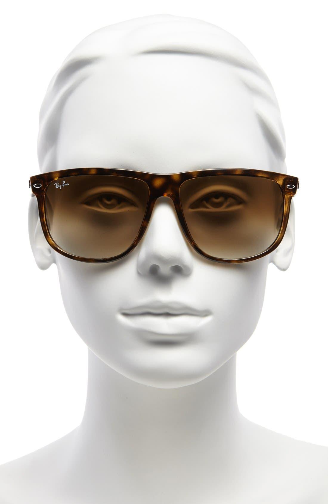 Boyfriend 60mm Flat Top Sunglasses,                             Alternate thumbnail 2, color,                             TORTOISE GRADIENT