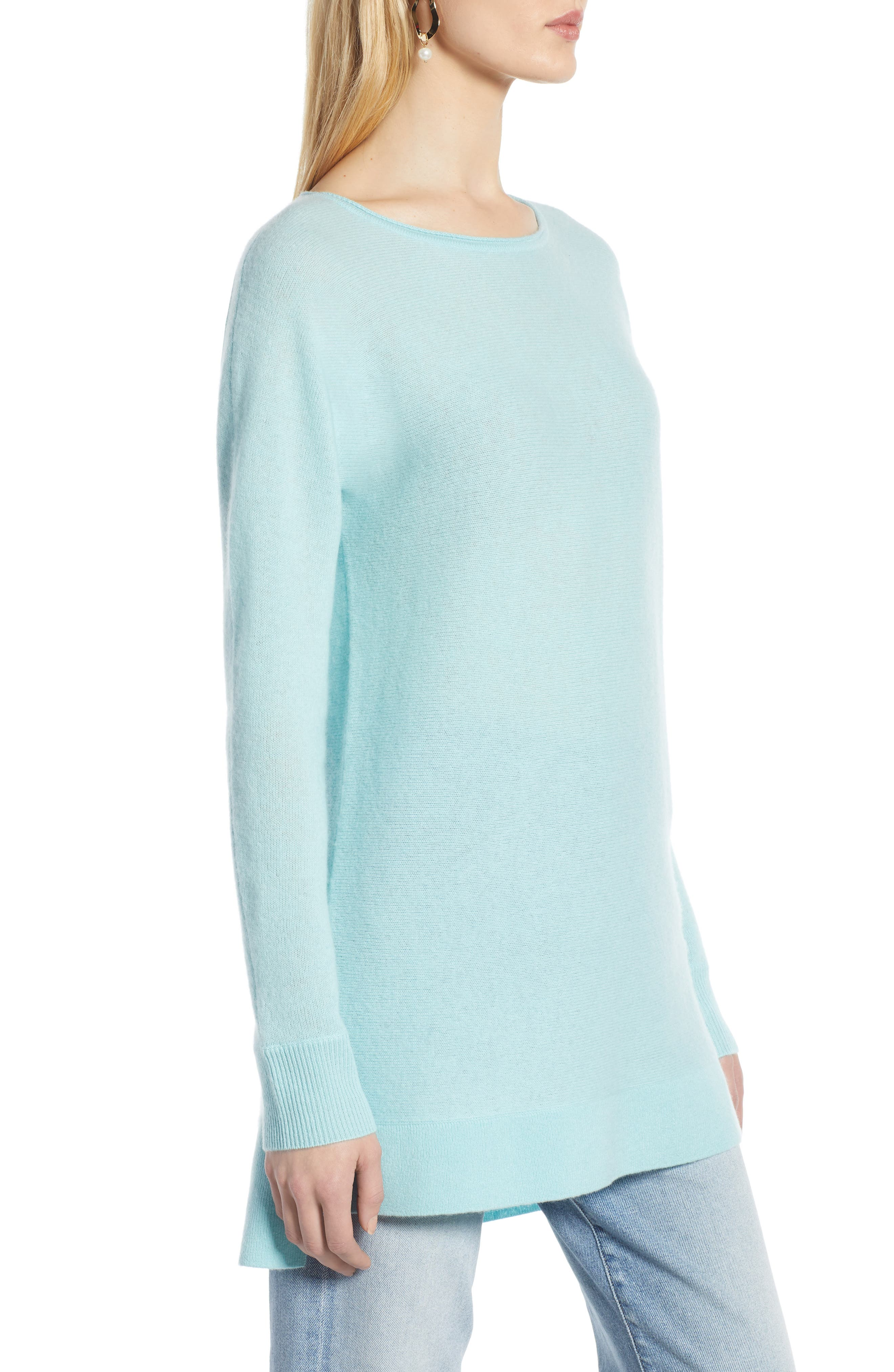 High/Low Wool & Cashmere Tunic Sweater,                             Alternate thumbnail 3, color,                             BLUE RESORT