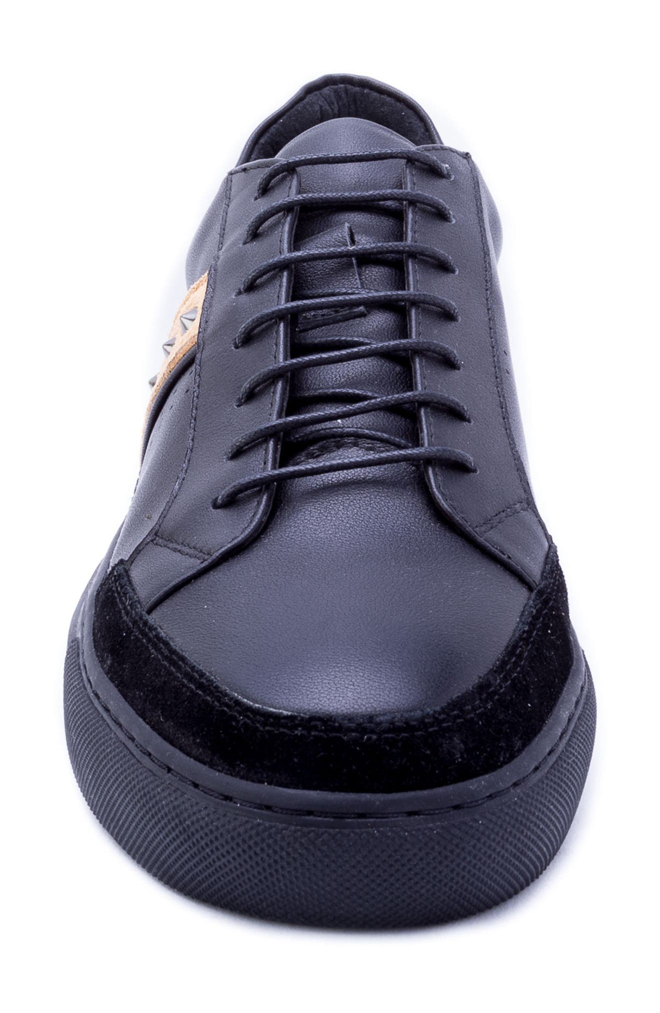 Badgley Mischka Connery Sneaker,                             Alternate thumbnail 4, color,                             BLACK LEATHER