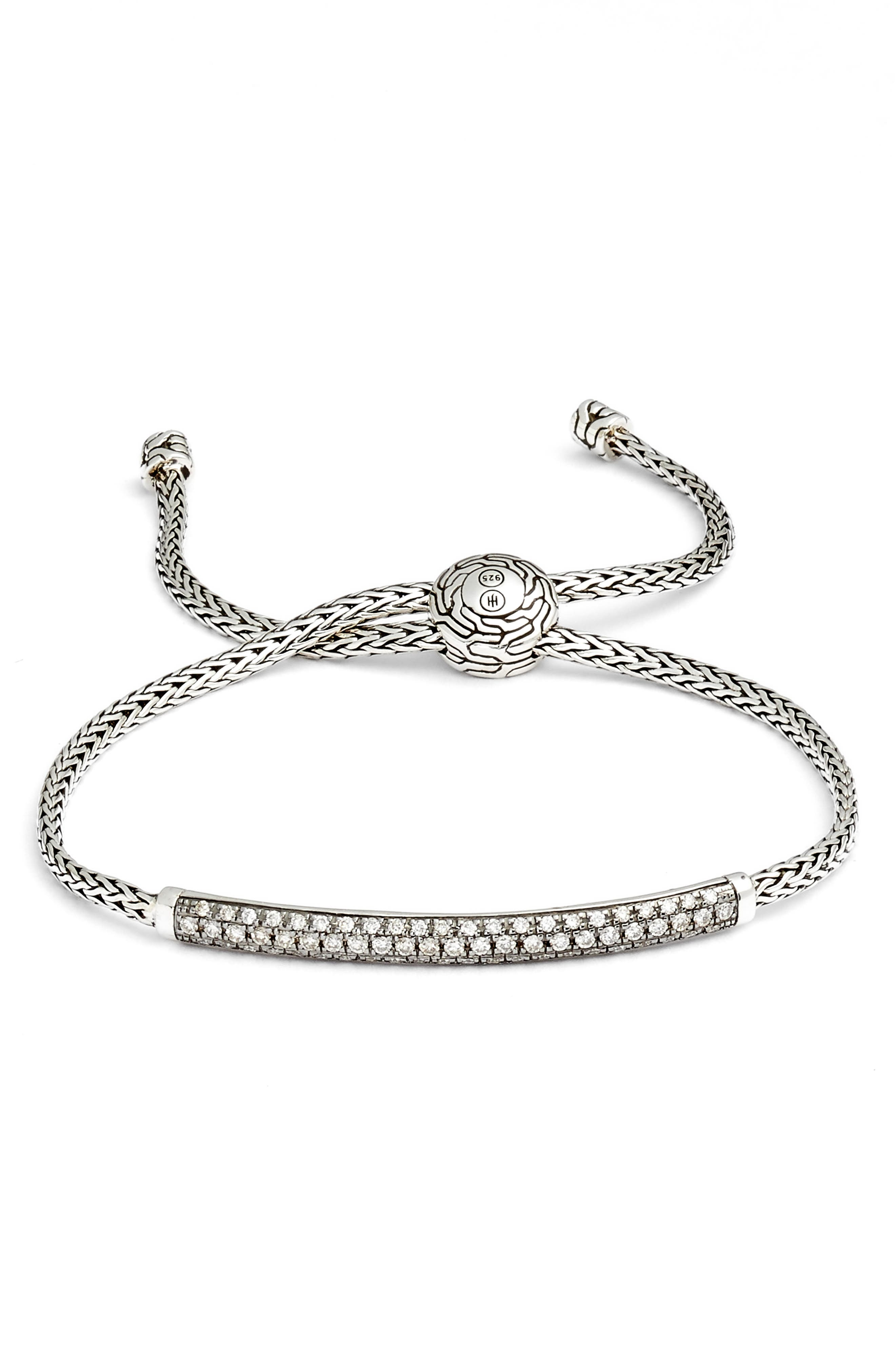 Classic Chain Pull Through Bracelet,                             Main thumbnail 1, color,                             SILVER/ GRAY DIAMOND