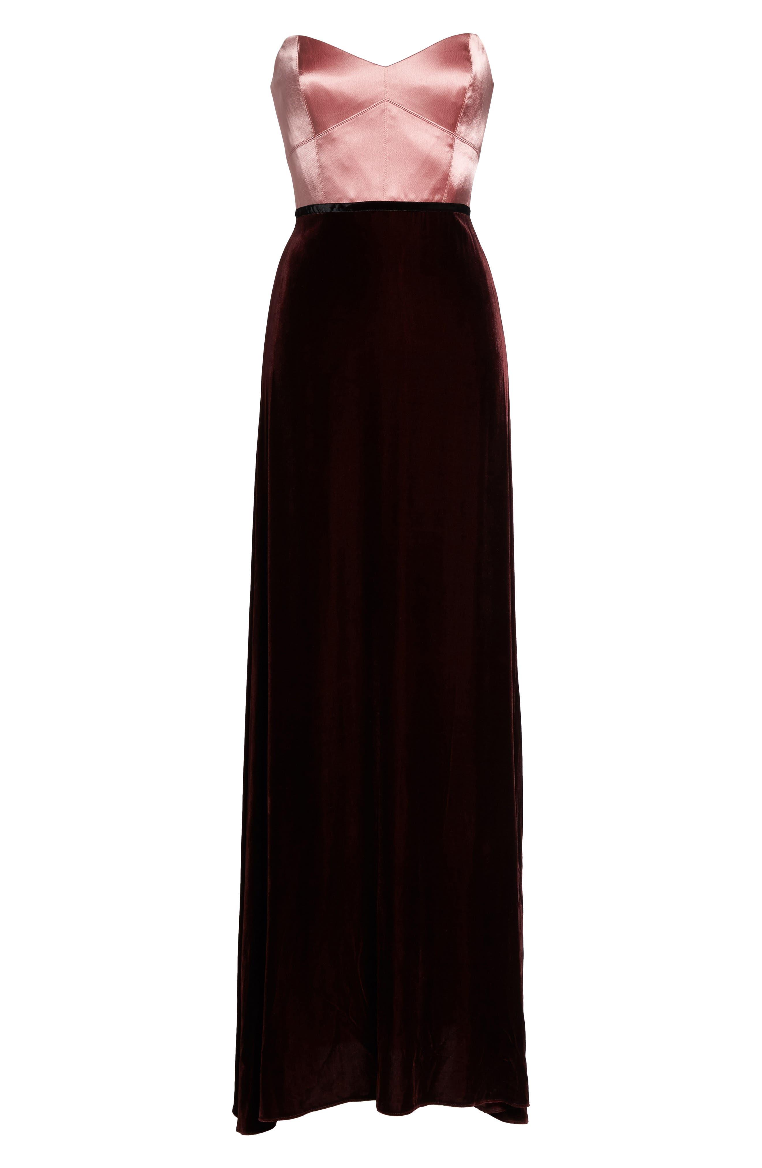 Strapless Satin & Velvet Gown,                             Alternate thumbnail 6, color,                             684
