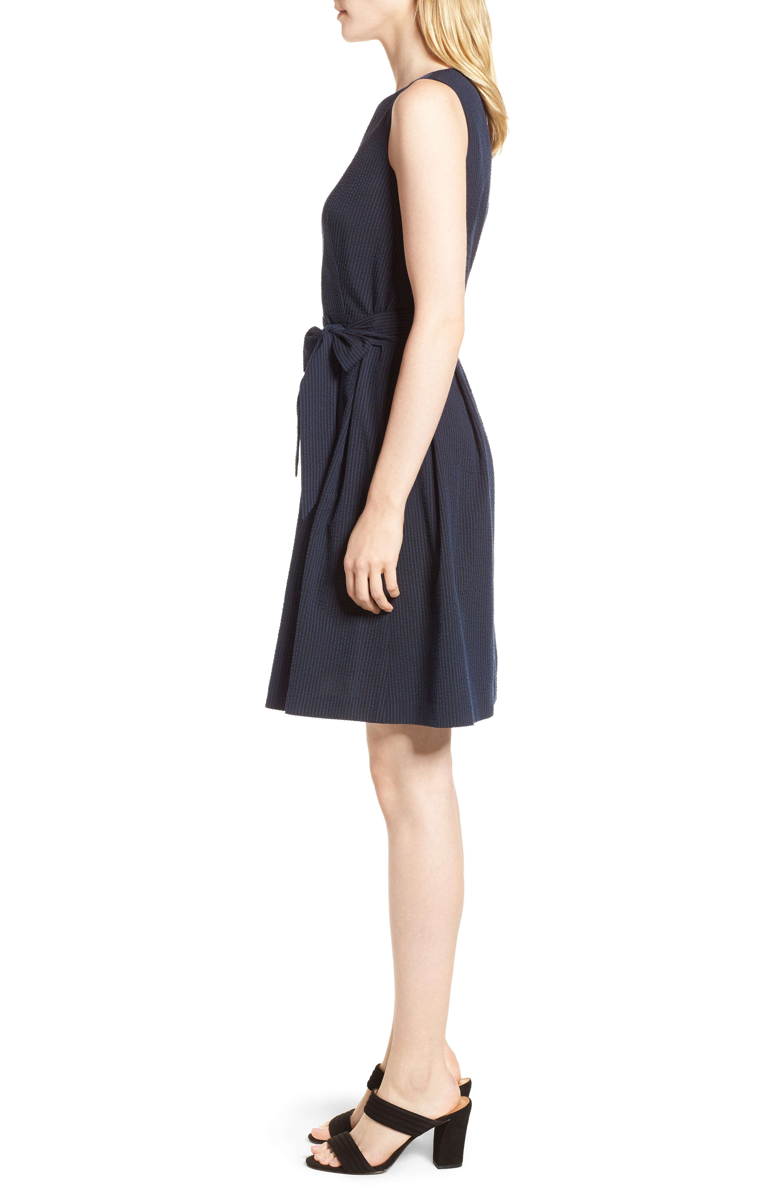 Seersucker Fit & Flare Dress,                             Alternate thumbnail 3, color,                             400