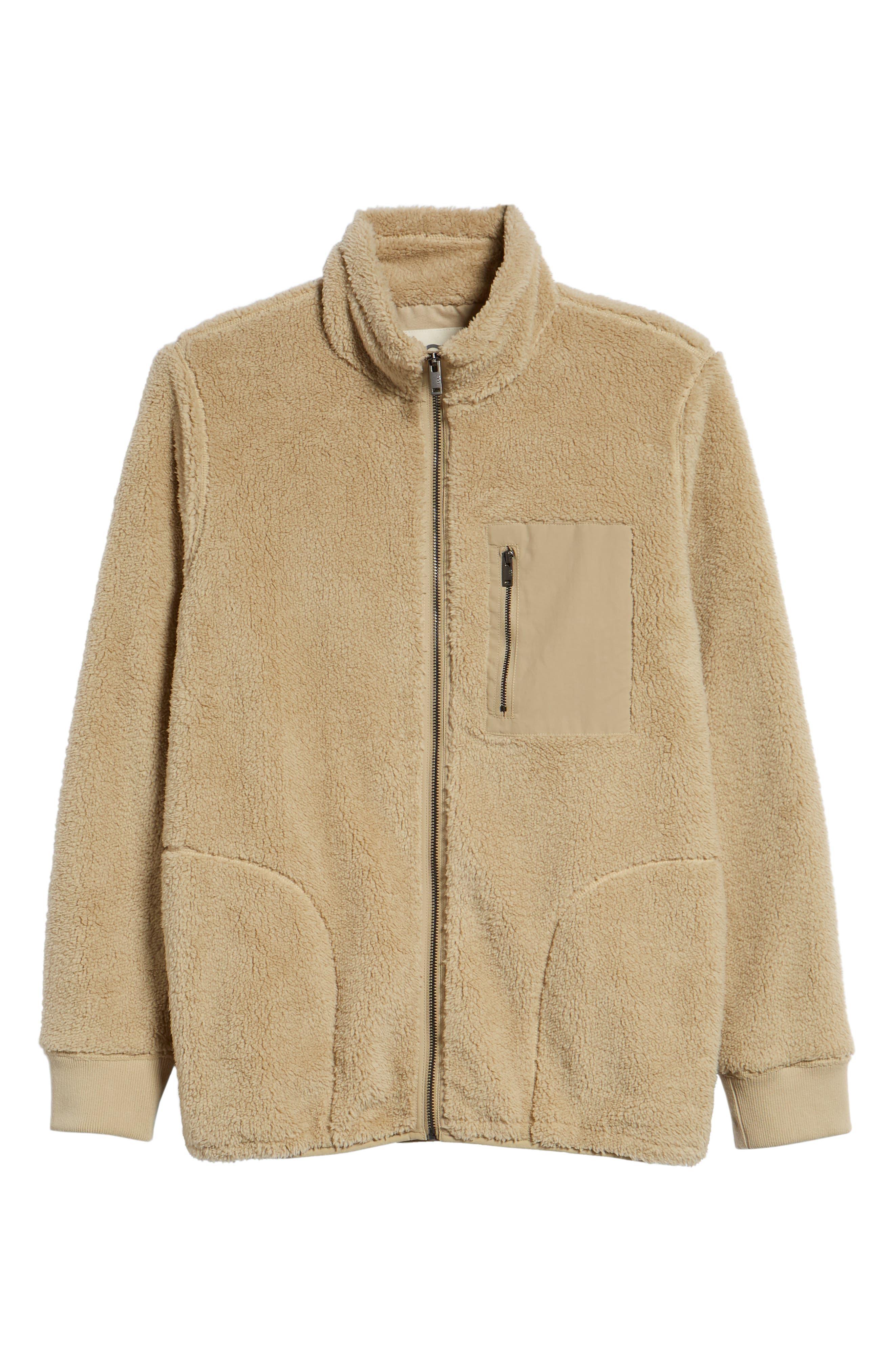 Lucas High Pile Fleece Sweater Jacket,                             Alternate thumbnail 6, color,                             SAND