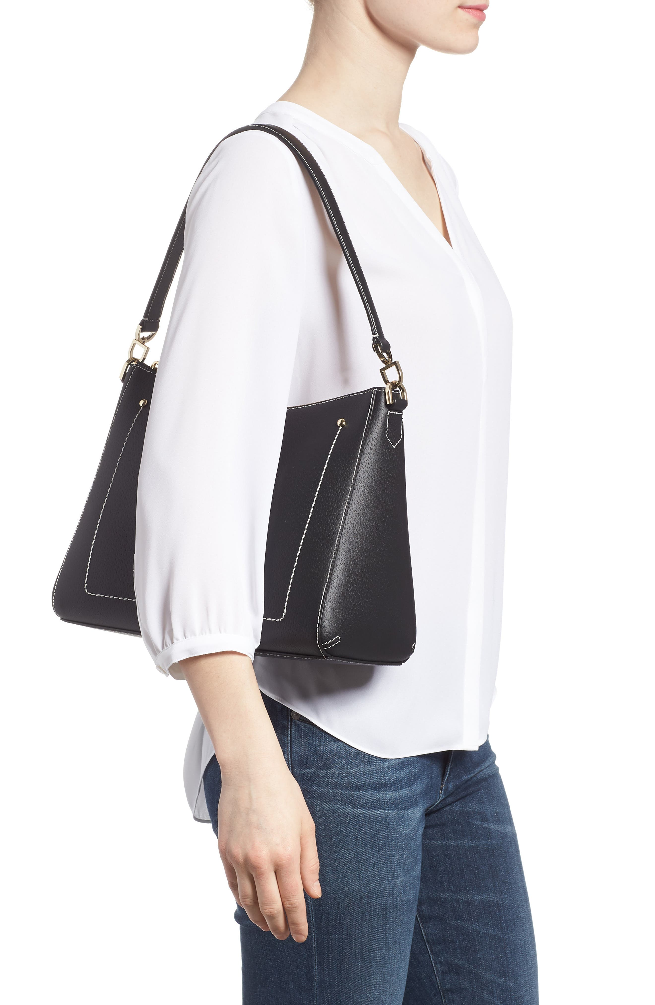 thompson street - marti leather shoulder/crossbody bag,                             Alternate thumbnail 2, color,                             001
