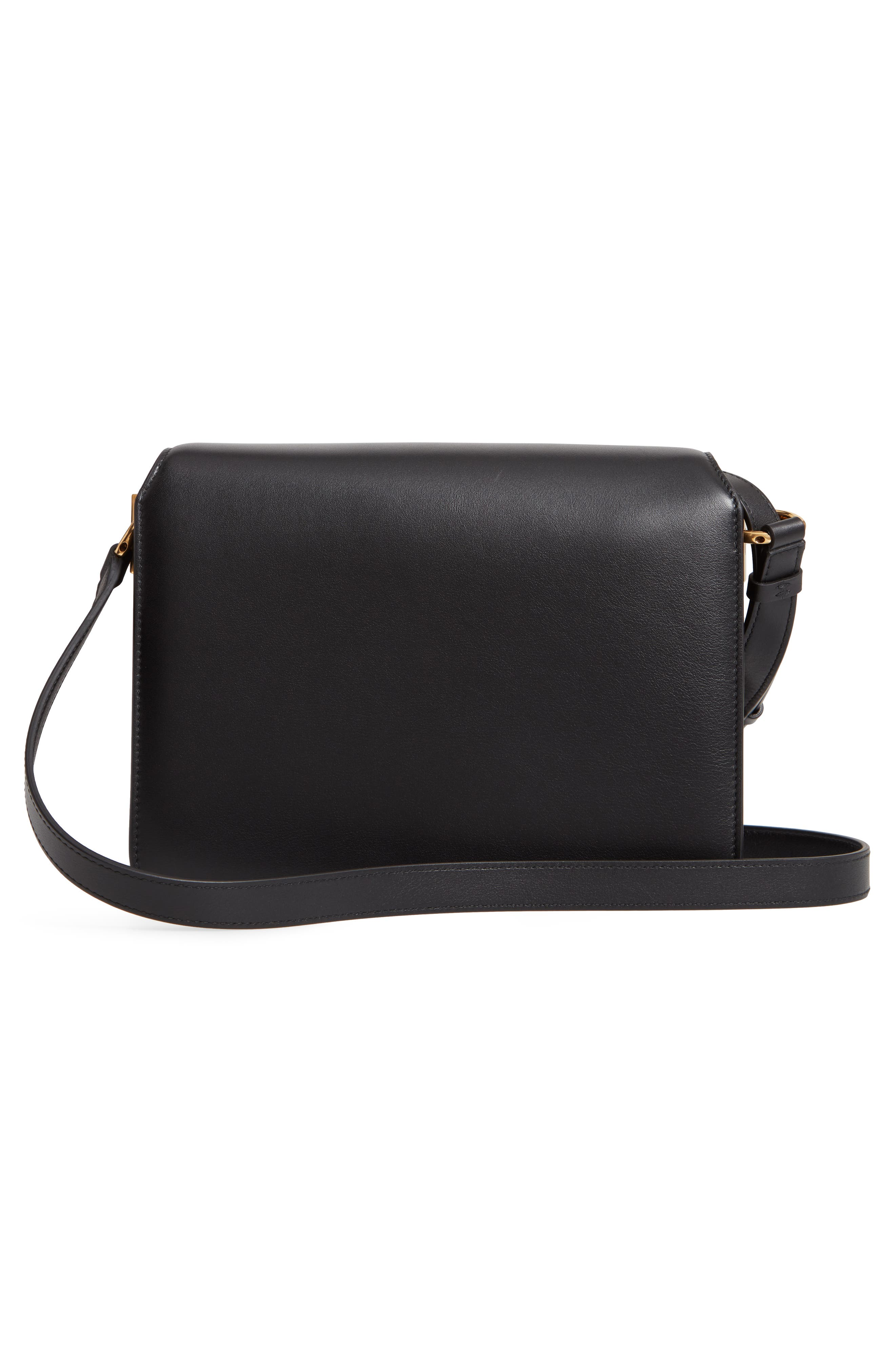 Medium Classic Flap Leather Shoulder Bag,                             Alternate thumbnail 3, color,                             BLACK