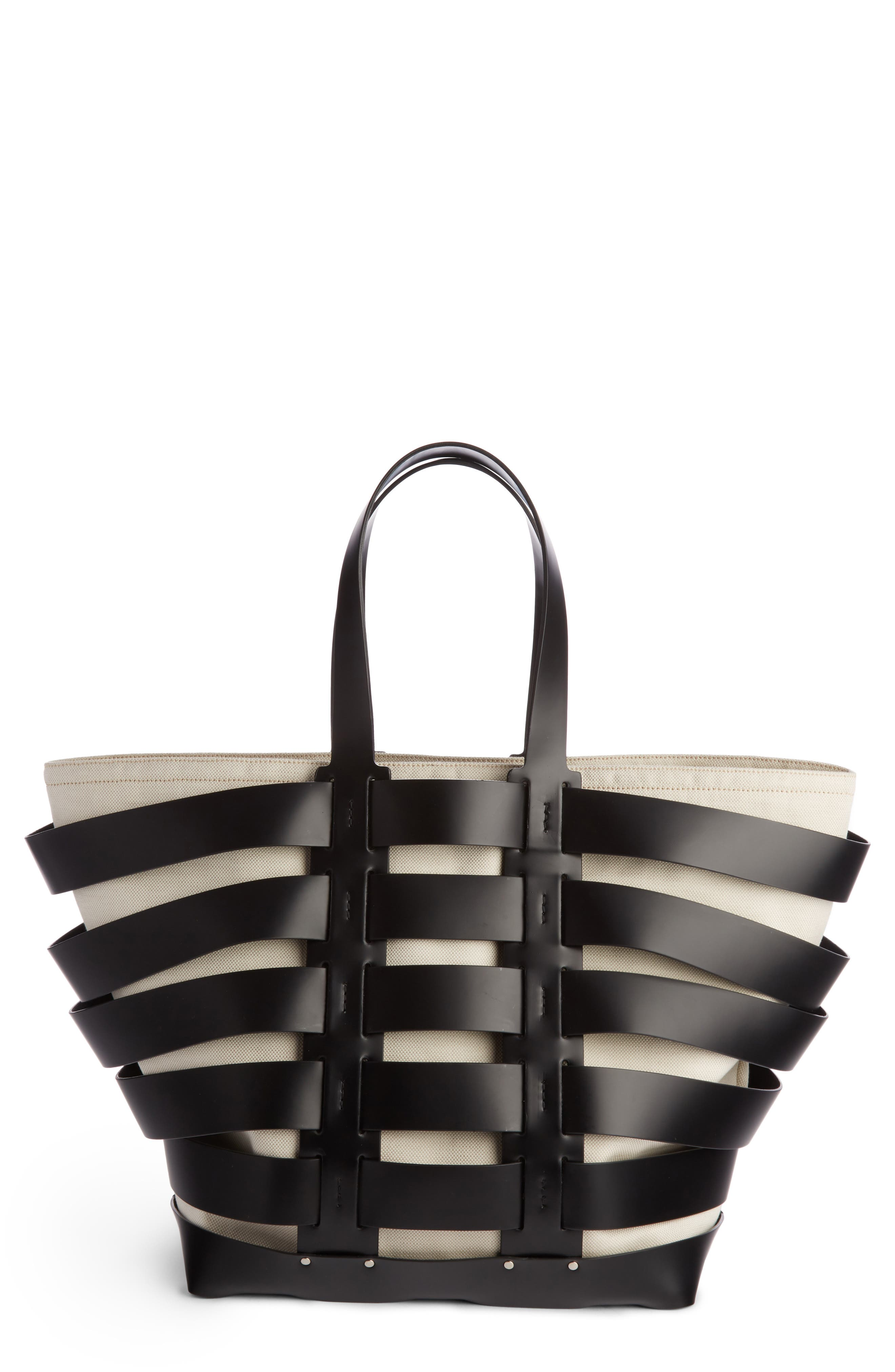 Cage Leather & Canvas Tote,                             Main thumbnail 1, color,                             BLACK