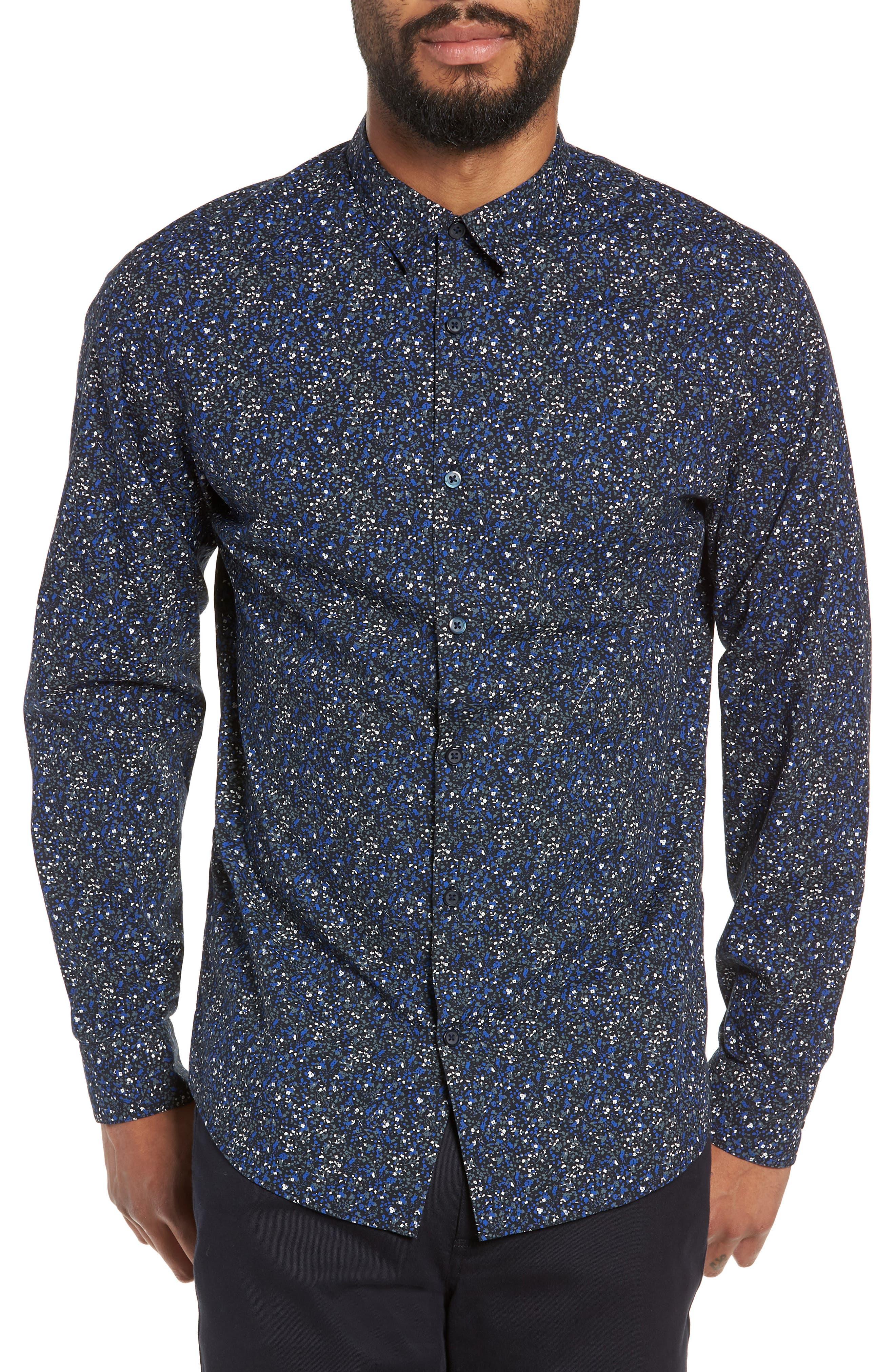 Slim Fit Sport Shirt,                             Main thumbnail 1, color,                             ESTATE BLUE