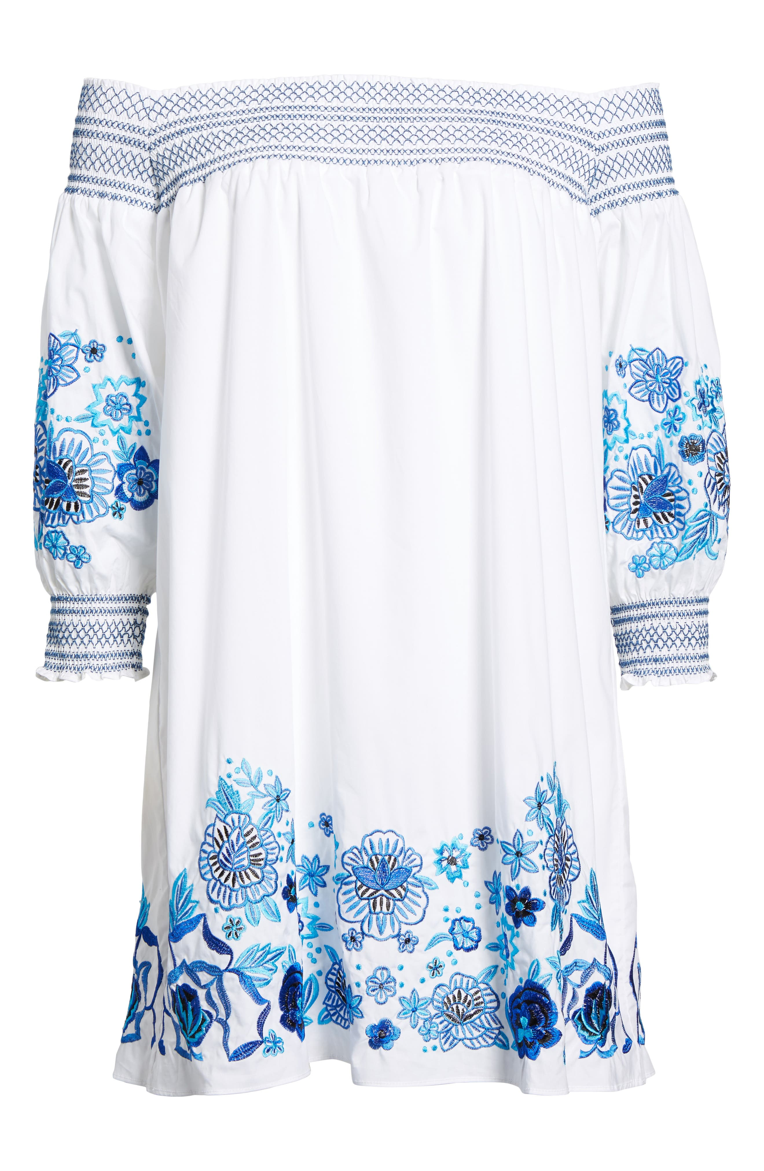 Jace Embroidered Off the Shoulder Shift Dress,                             Alternate thumbnail 6, color,                             100