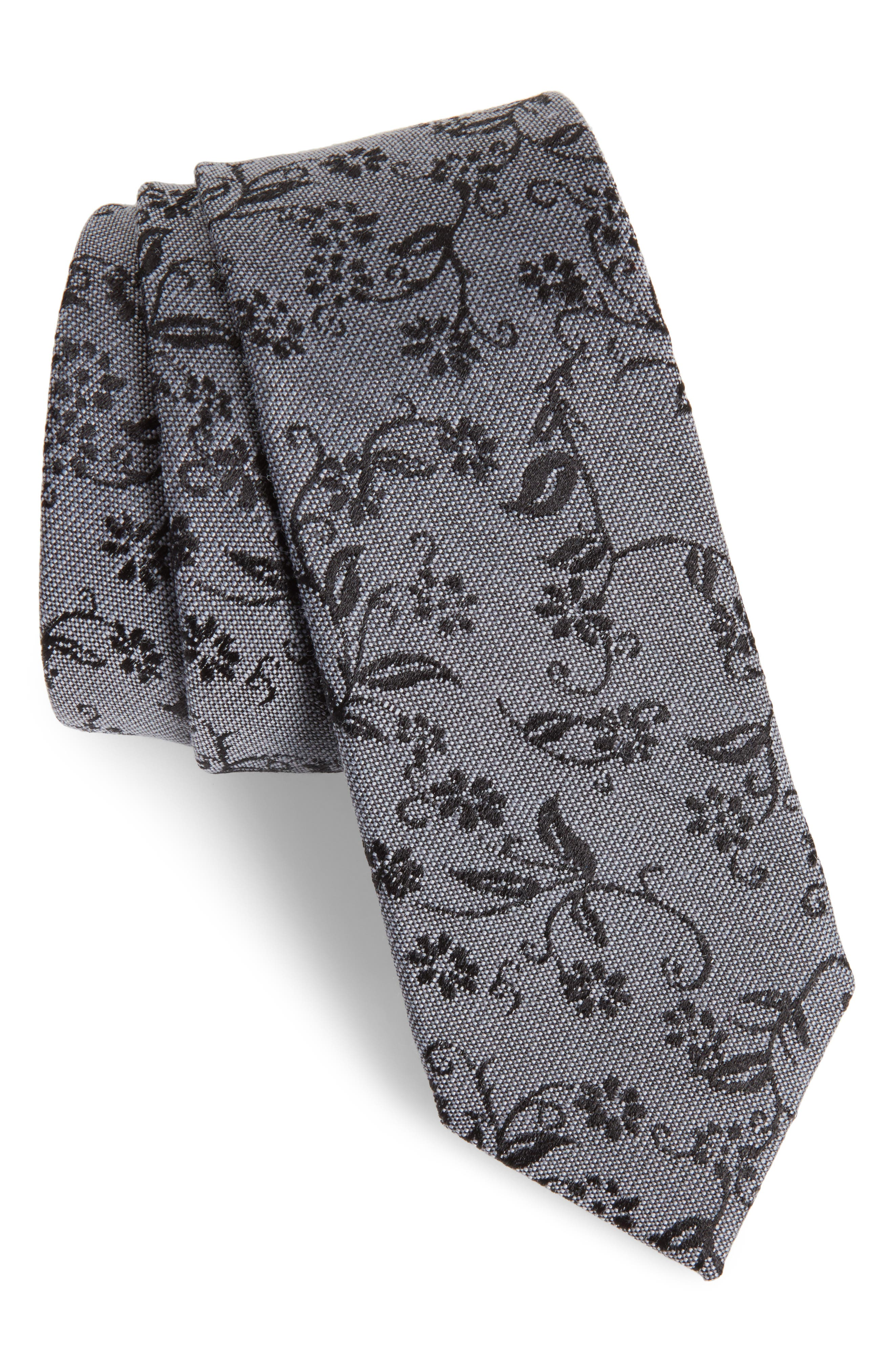 Emerson Floral Wool & Silk Tie,                             Main thumbnail 1, color,                             020