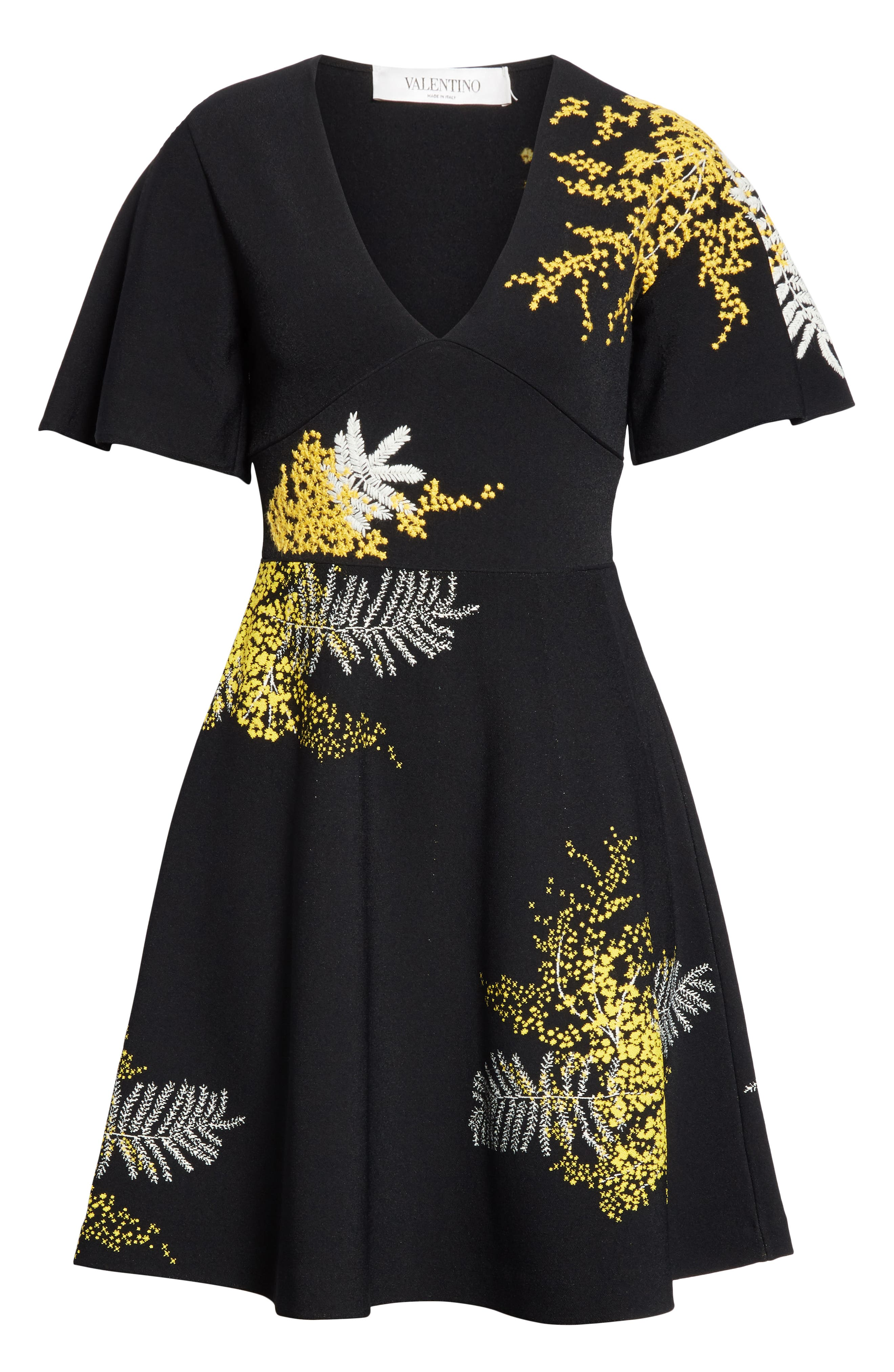 Mimosa Embroidered Fit & Flare Dress,                             Alternate thumbnail 7, color,                             BLACK/ MULTI COLOR