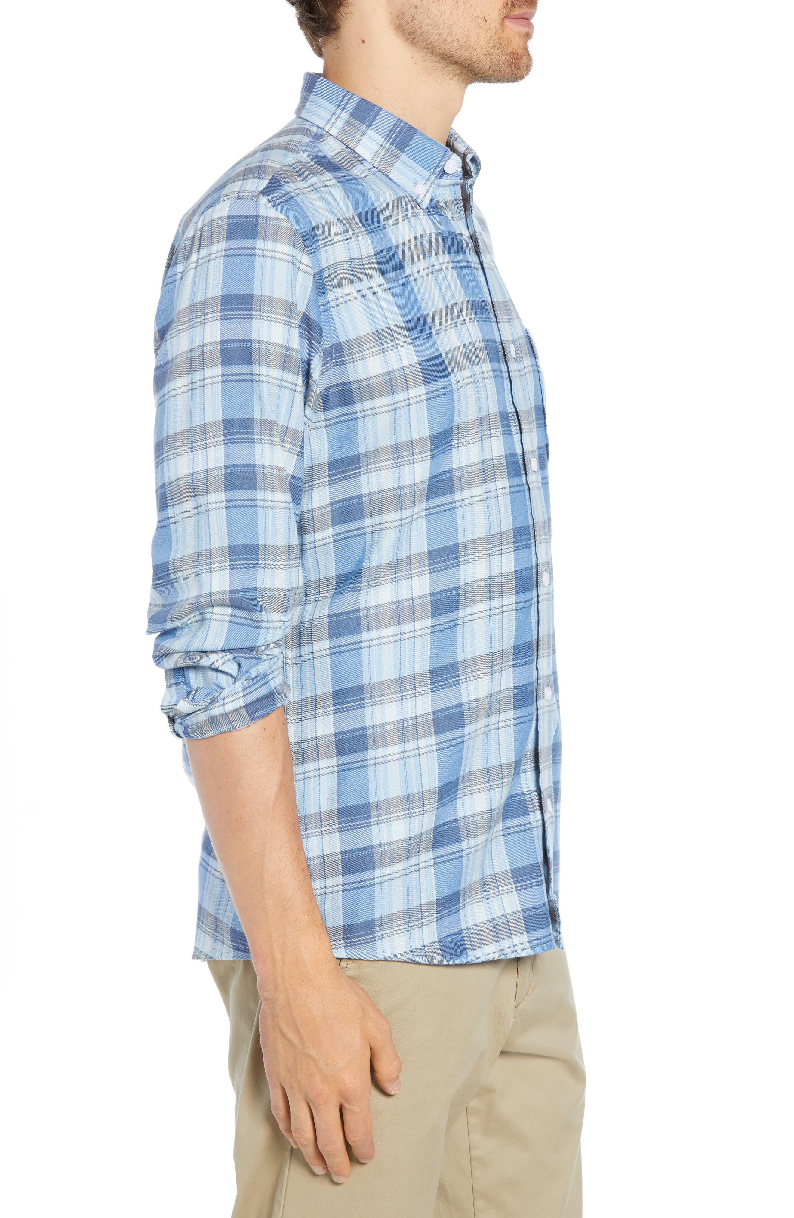 Slim Fit Plaid Sport Shirt,                             Alternate thumbnail 4, color,                             BLUE CHAMBRAY BLUE DARK PLAID
