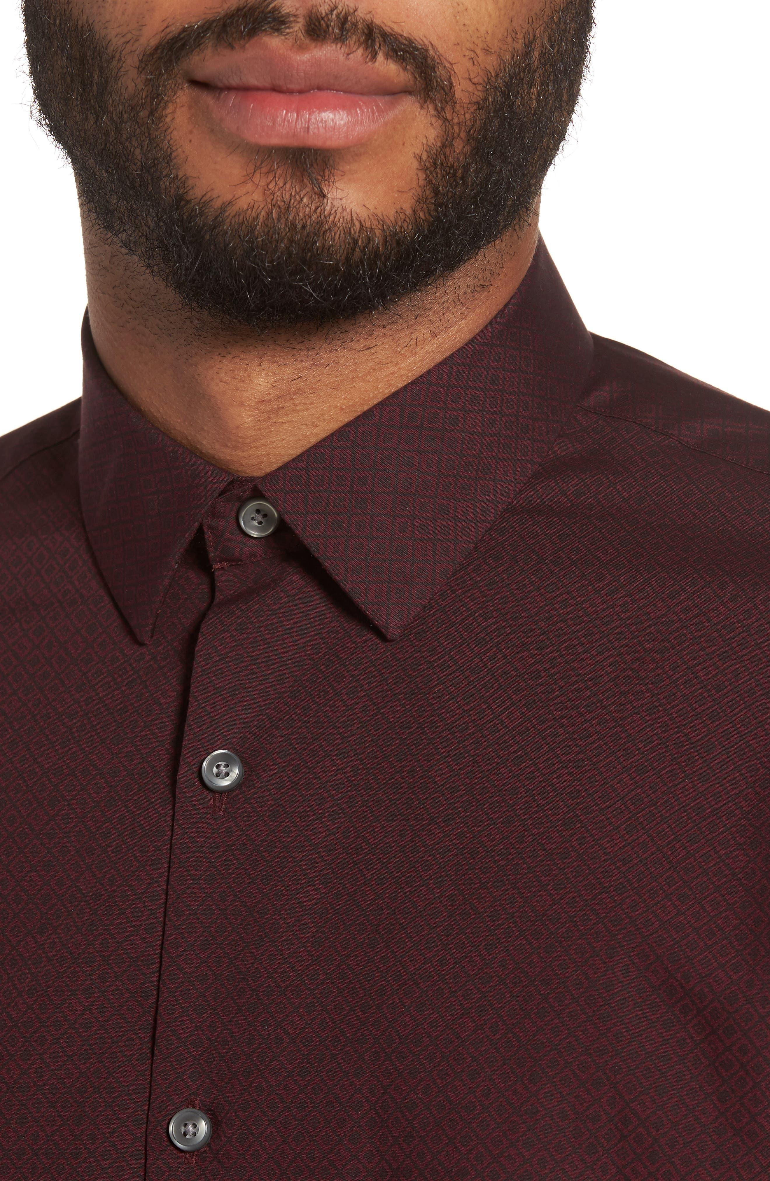 Slim Fit Non-Iron Diamond Print Sport Shirt,                             Alternate thumbnail 4, color,                             501