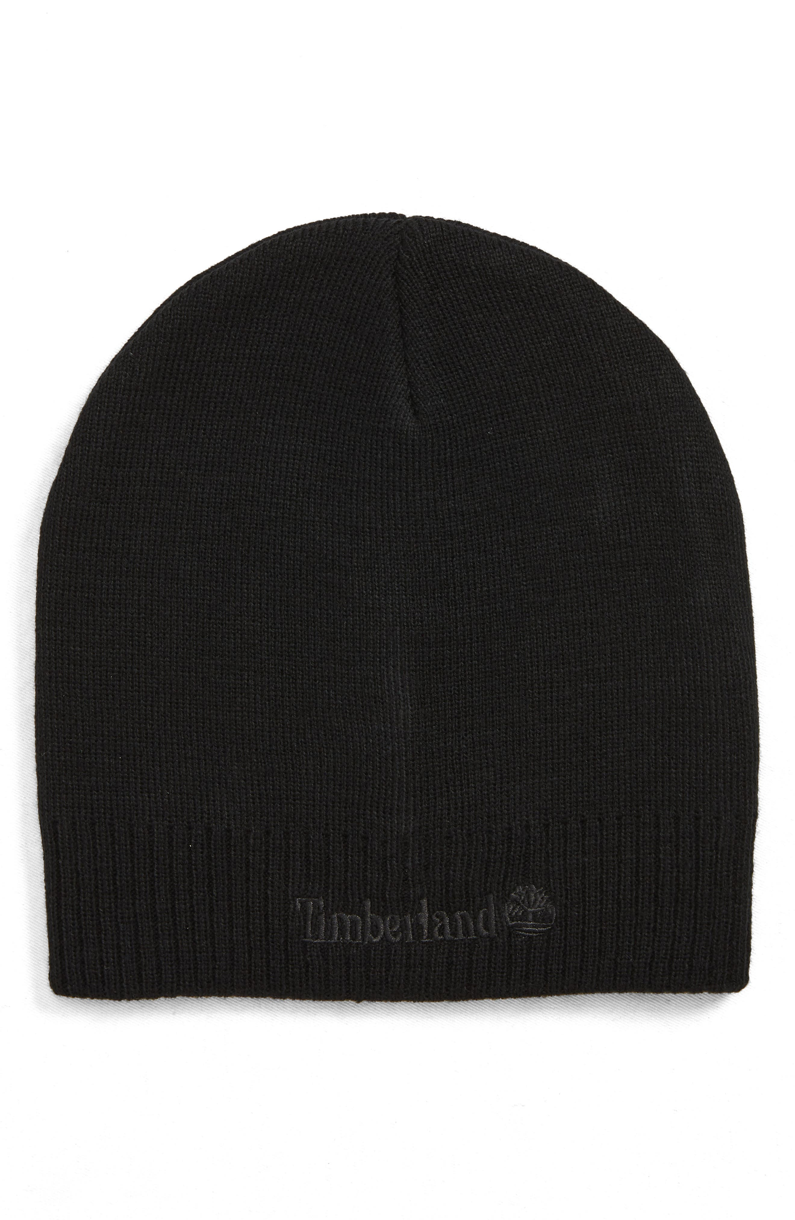 Timberland Embroidered Logo Knit Beanie - Black  ed668b37430e