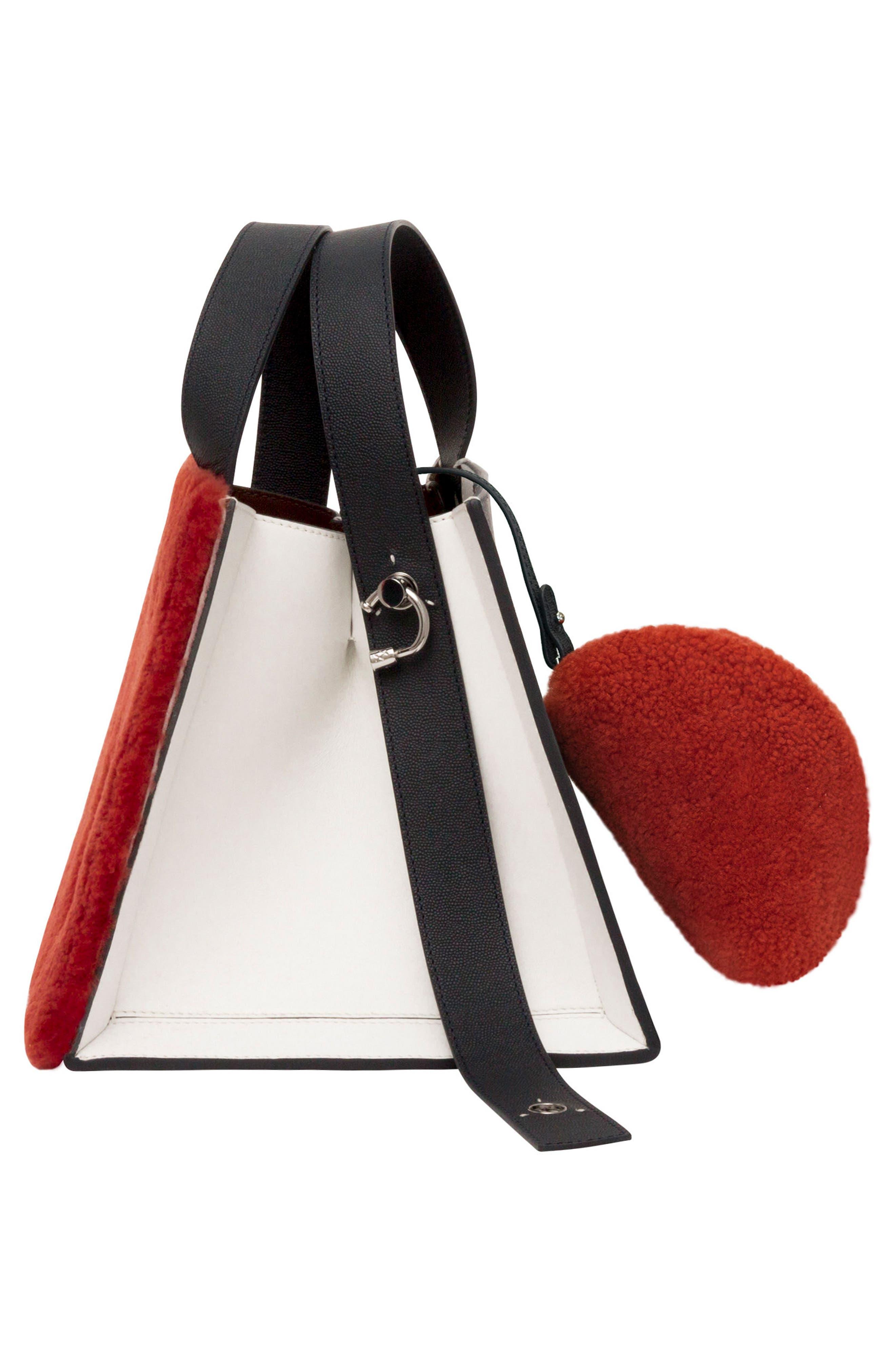 Margot Leather & Genuine Shearling Tote Bag,                             Alternate thumbnail 6, color,                             SHEARLING BRICK