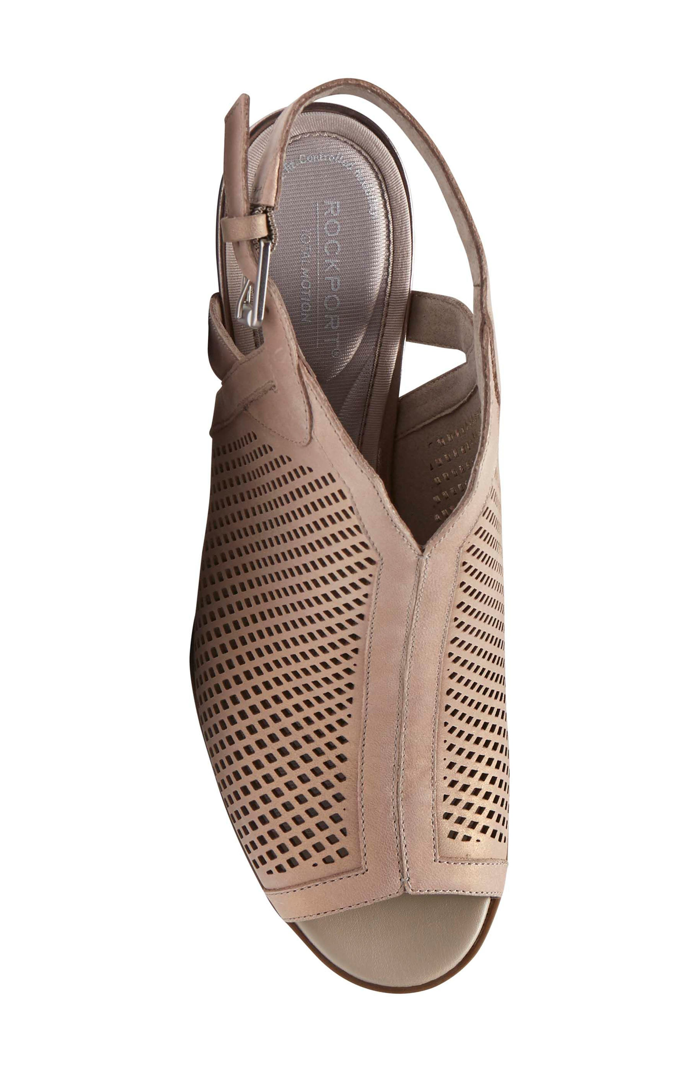 Total Motion Luxe Perforated Sandal,                             Alternate thumbnail 5, color,                             DOVE LEATHER