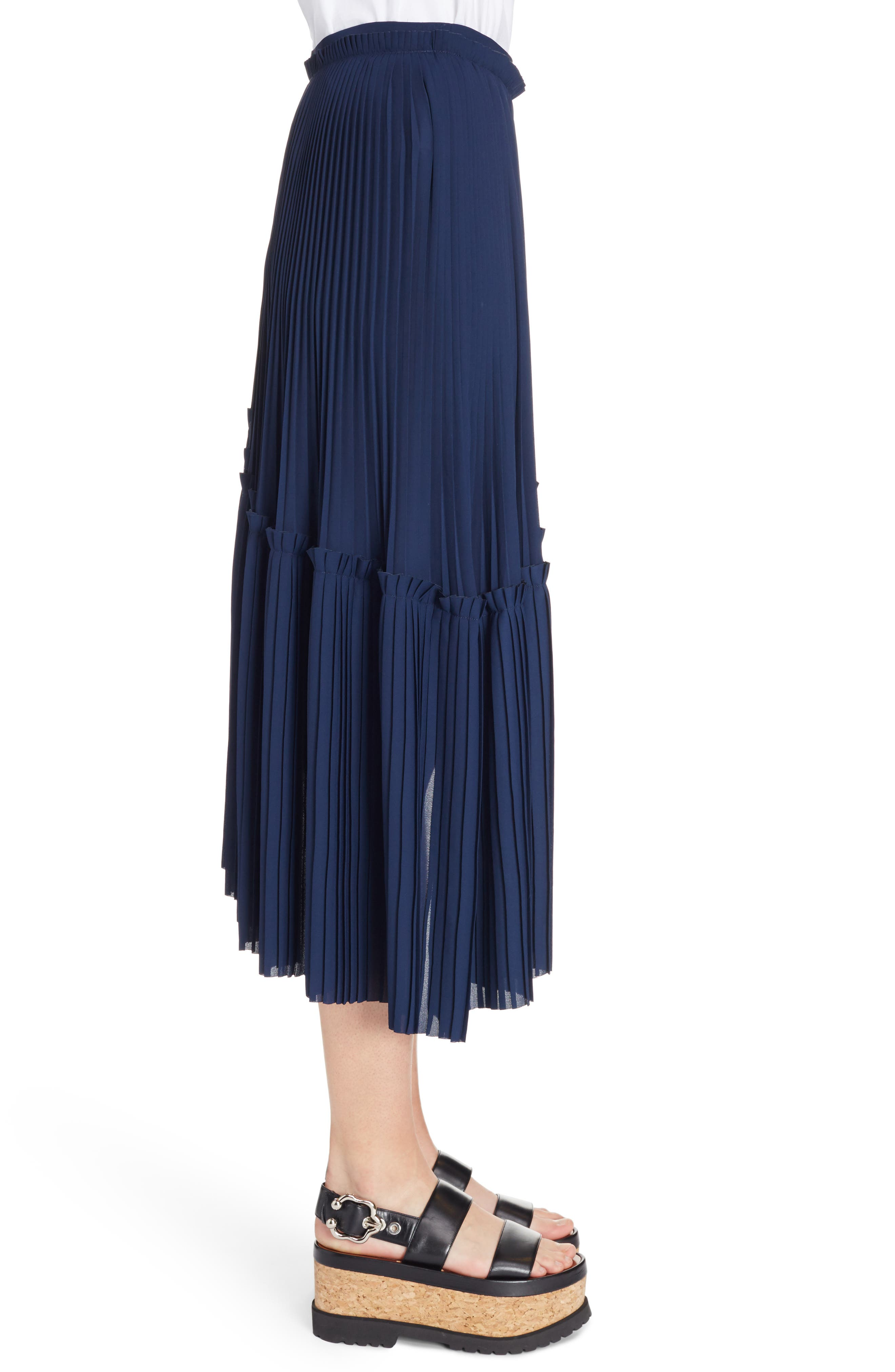 Asymmetrical Pleated Midi Skirt,                             Alternate thumbnail 3, color,                             402
