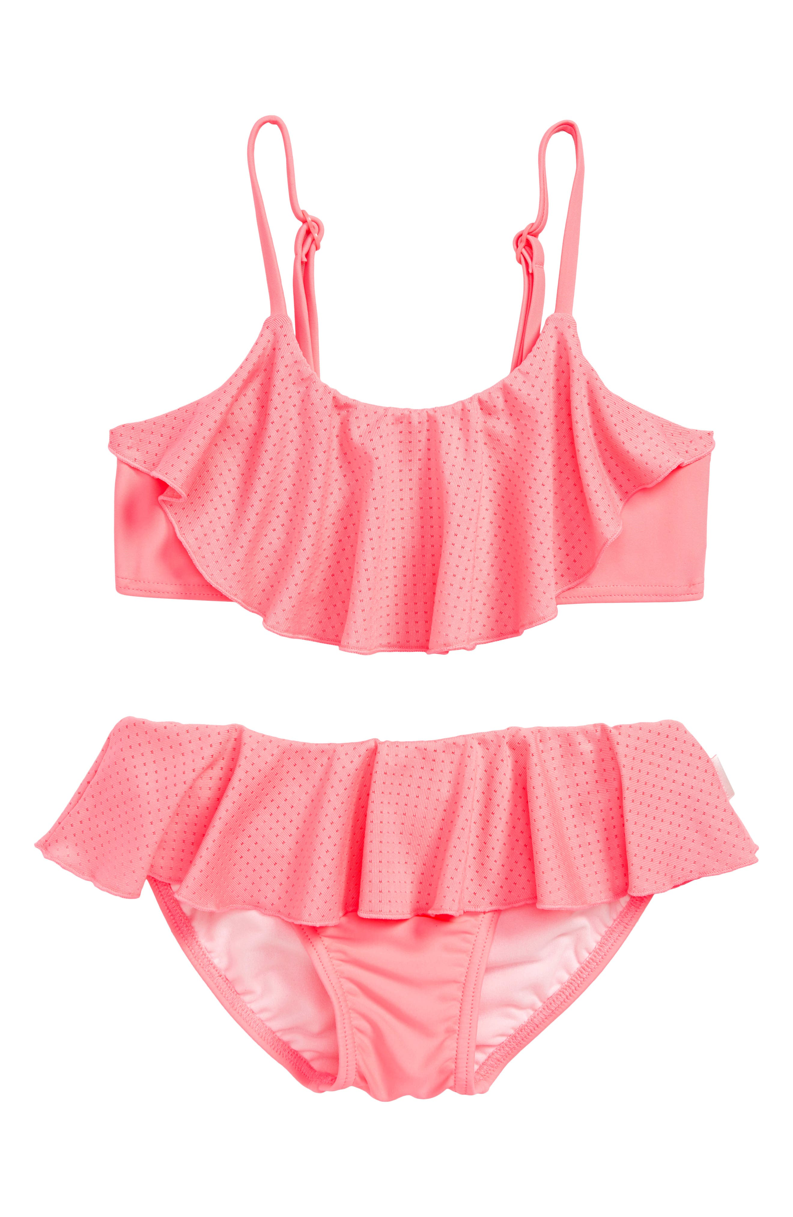 Ruffle Two-Piece Swimsuit,                         Main,                         color, STRAWBERRY PINK