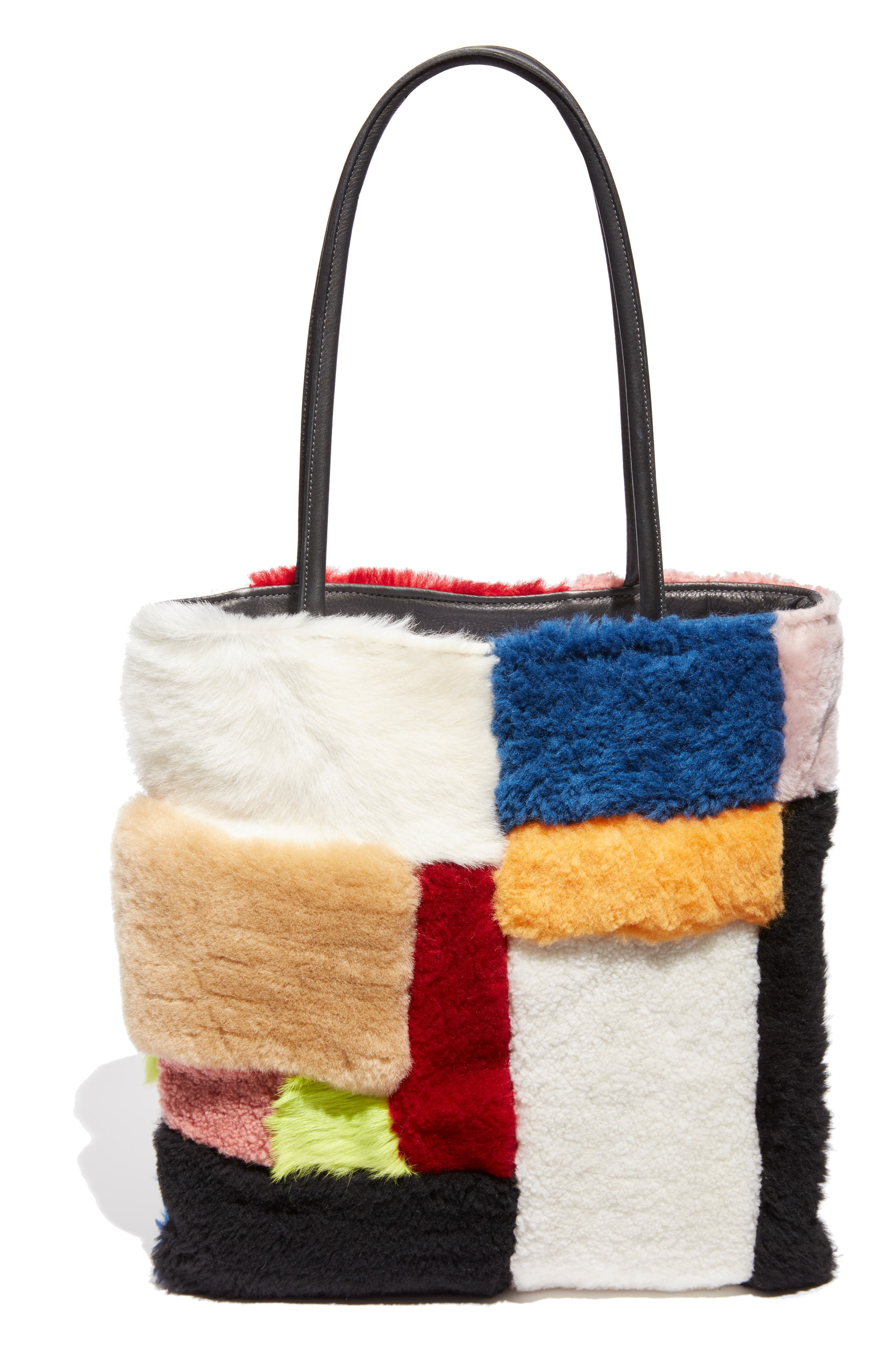 Patchwork Genuine Shearling Tote,                             Alternate thumbnail 3, color,                             MULTI COLOR