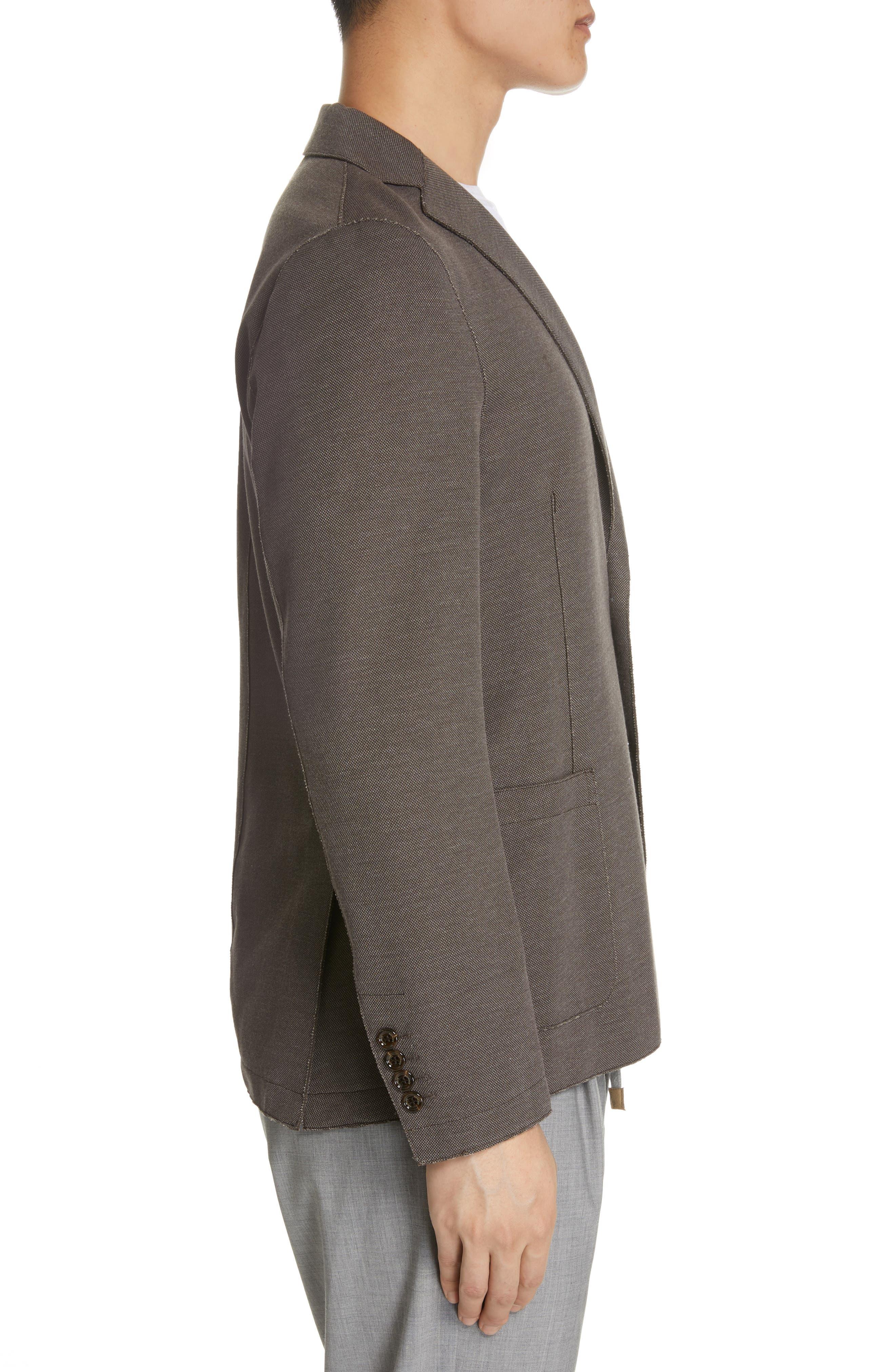ELEVENTY,                             Trim Fit Jersey Sport Coat,                             Alternate thumbnail 3, color,                             BROWN