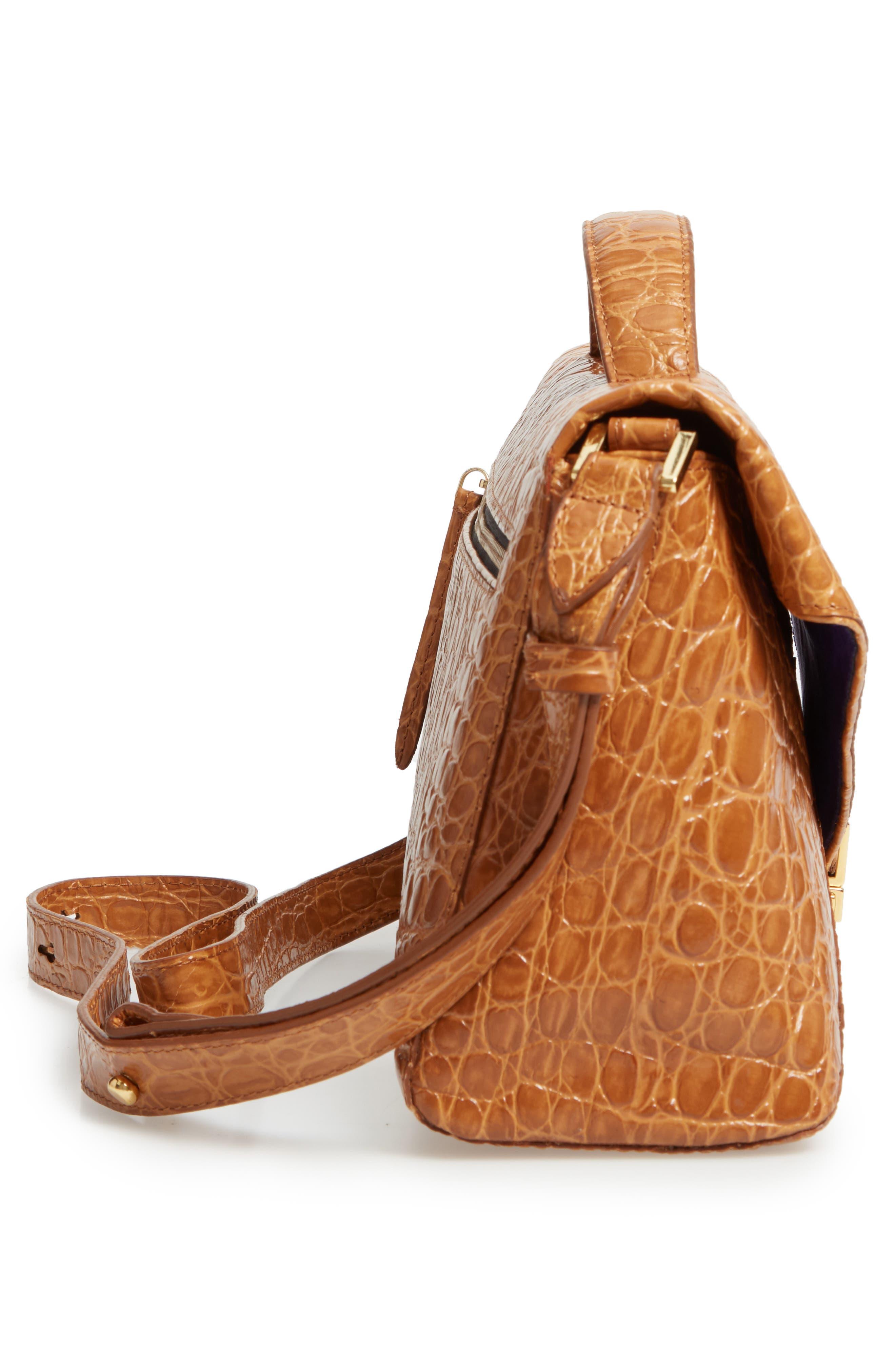 Croc Embossed Leather Shoulder Bag,                             Alternate thumbnail 5, color,                             GOLD