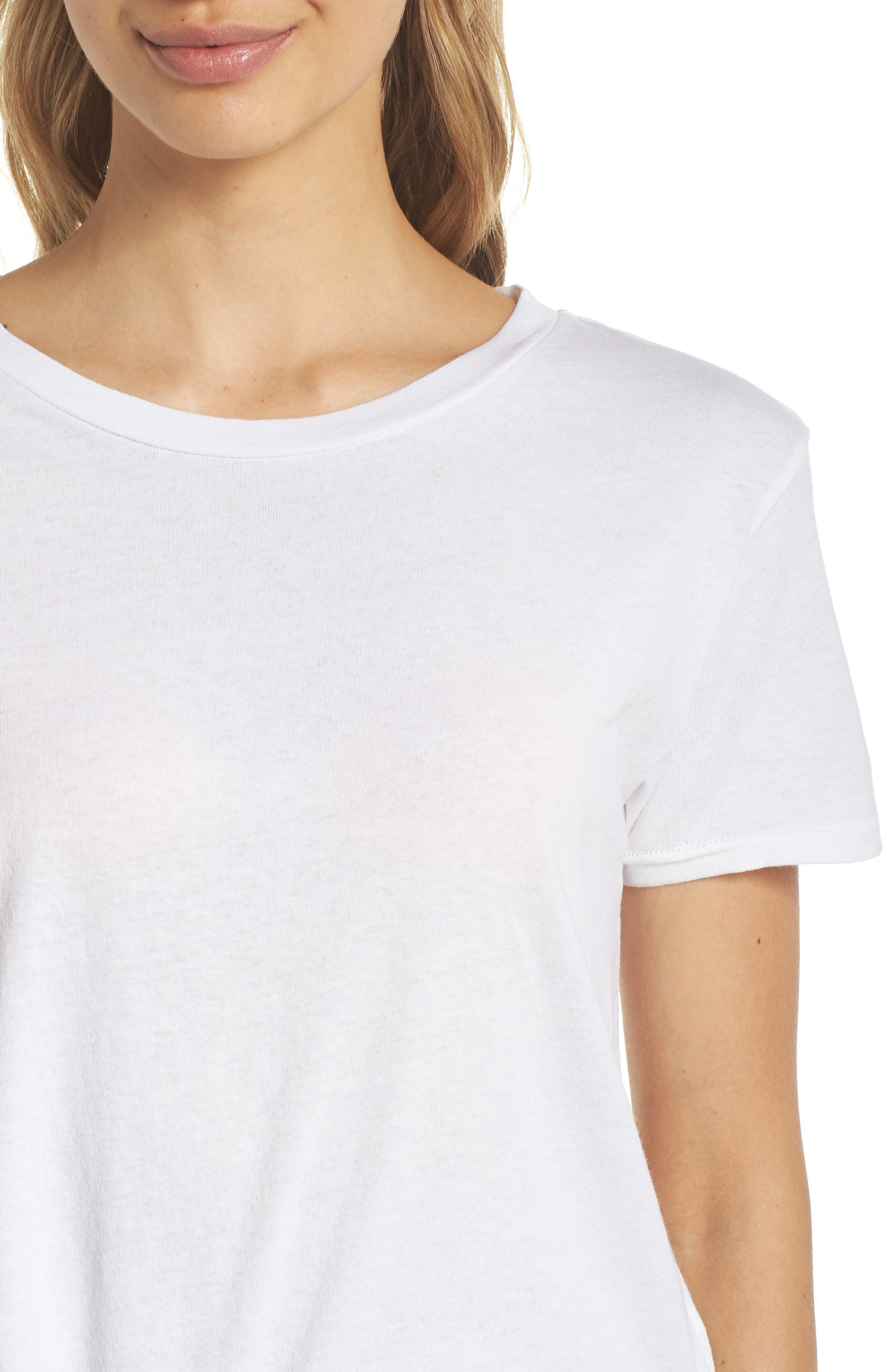 Crop Lounge Tee,                             Alternate thumbnail 4, color,                             100