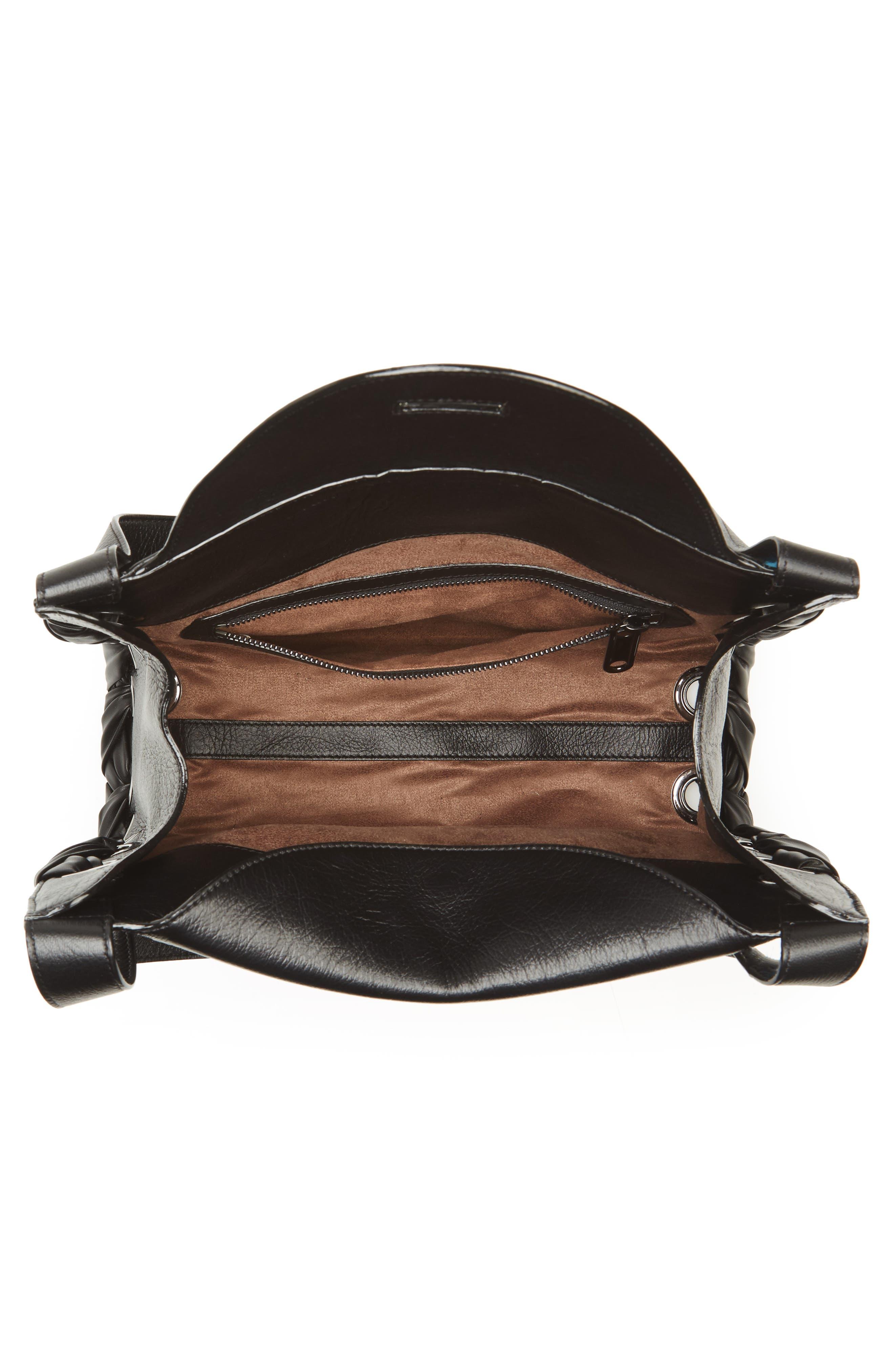 Rebel Leather Shoulder Bag,                             Alternate thumbnail 4, color,                             010