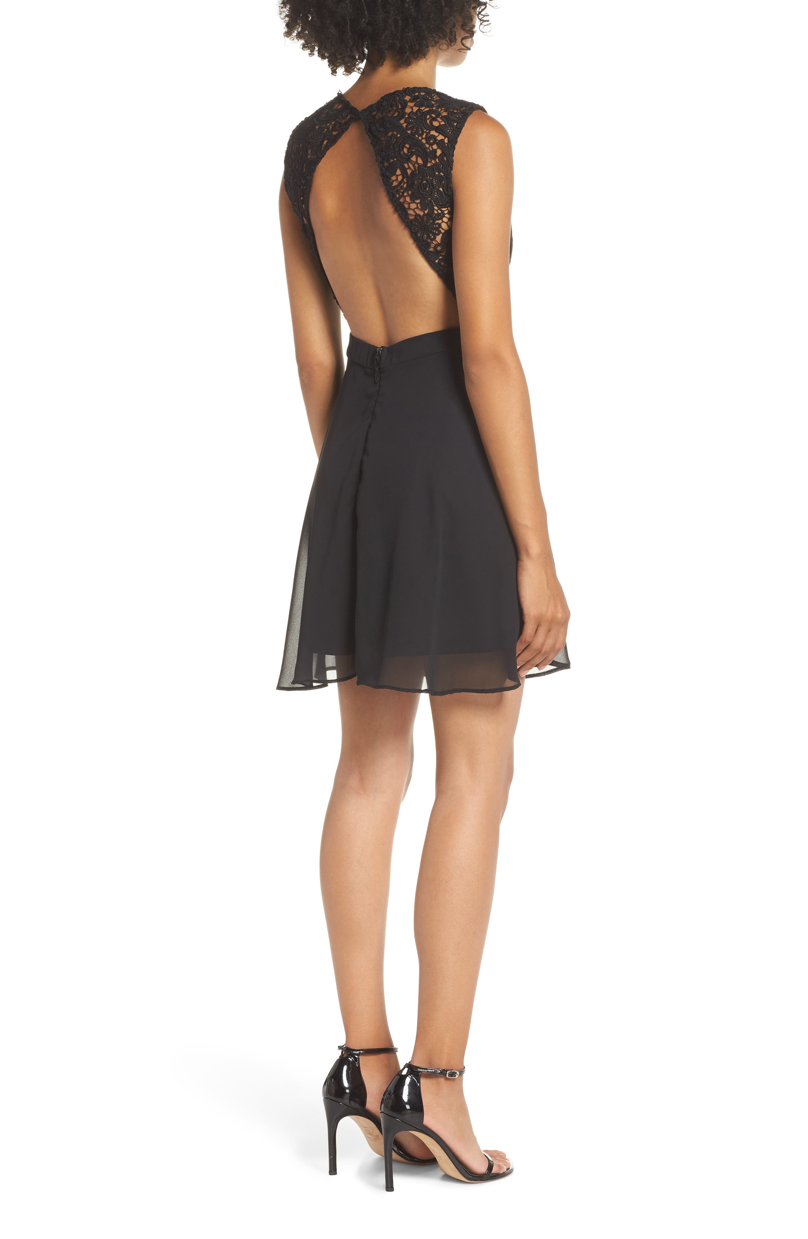 Lace & Chiffon Skater Dress,                             Alternate thumbnail 2, color,                             BLACK