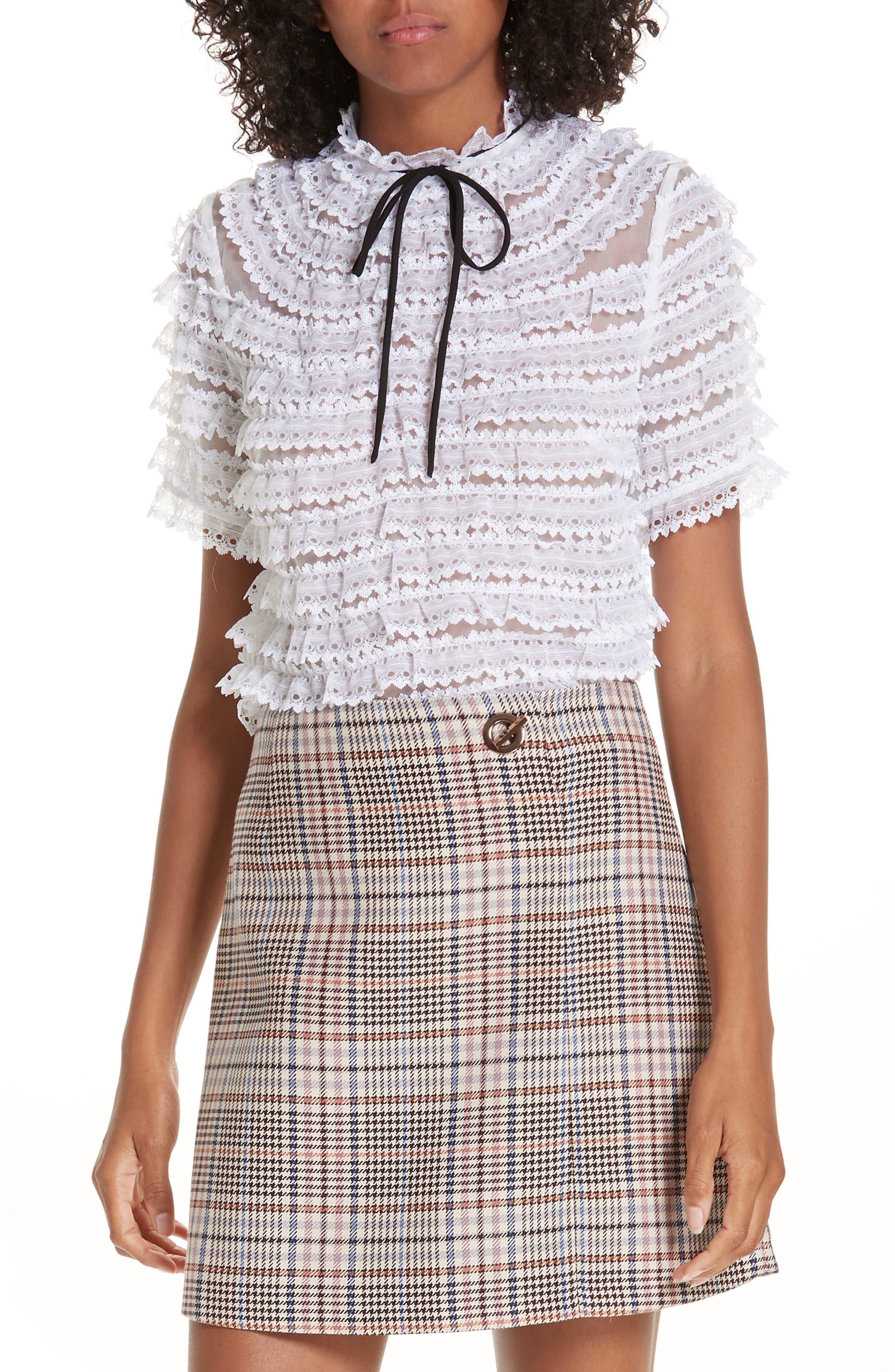 Ruffle Lace Silk Blouse,                         Main,                         color, ECRU