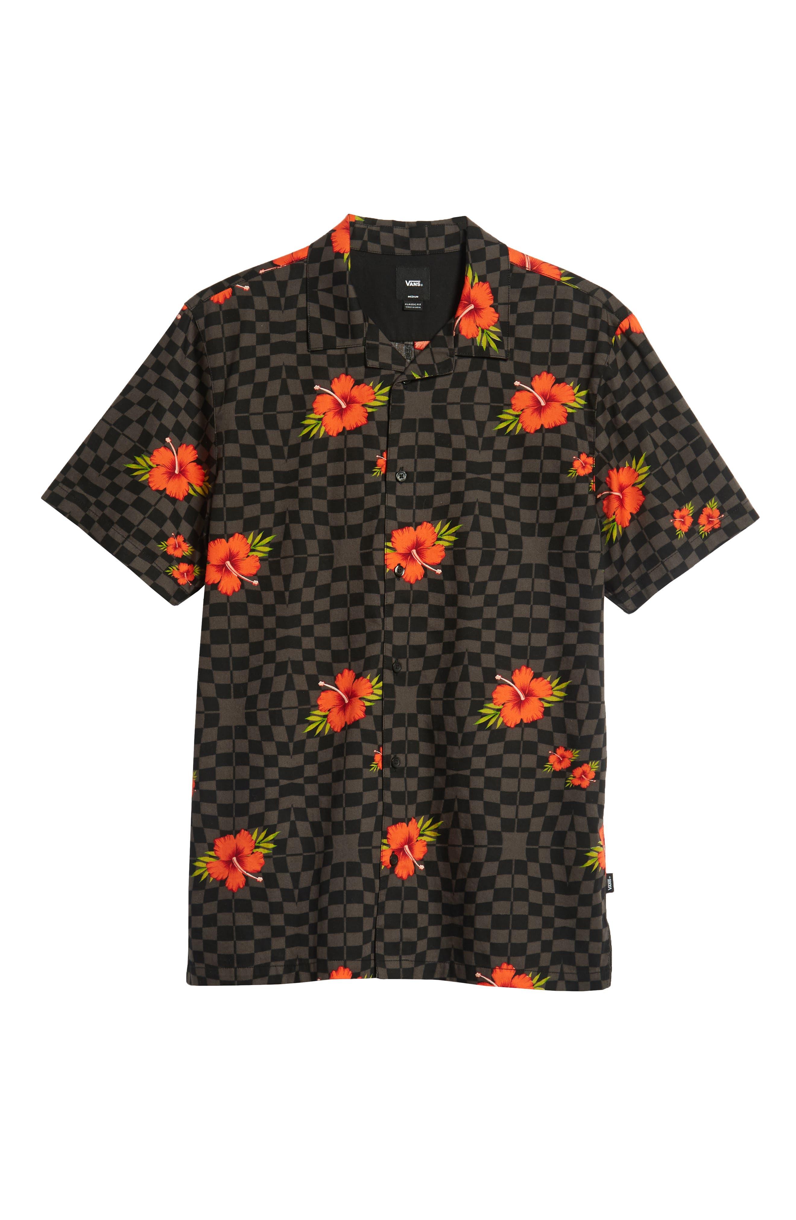 VANS,                             Warp Tropic Checks Camp Shirt,                             Alternate thumbnail 6, color,                             001