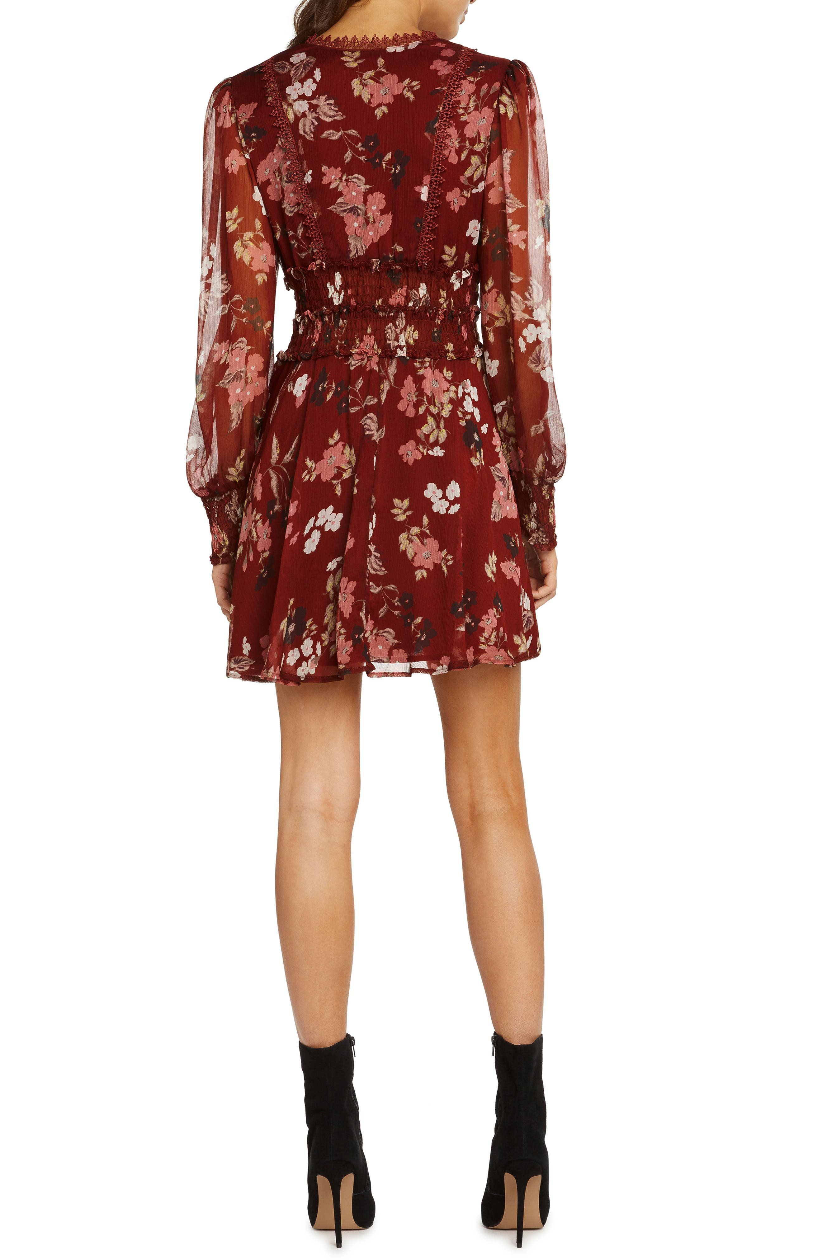 Print Smocked Fit & Flare Dress,                             Alternate thumbnail 3, color,                             RUST