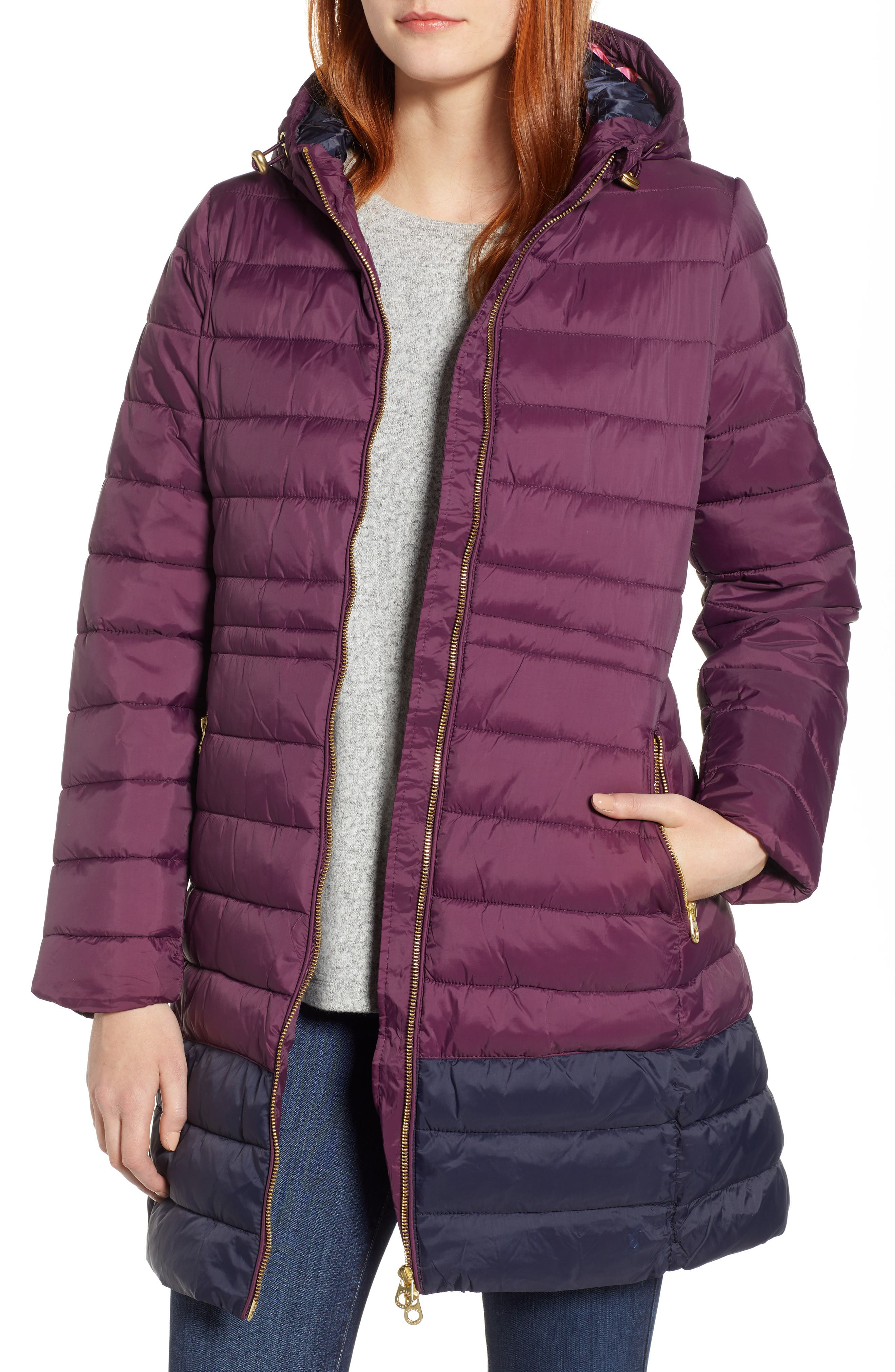 JOULES Heathcote Two-Tone Puffer Jacket, Main, color, BURGUNDY