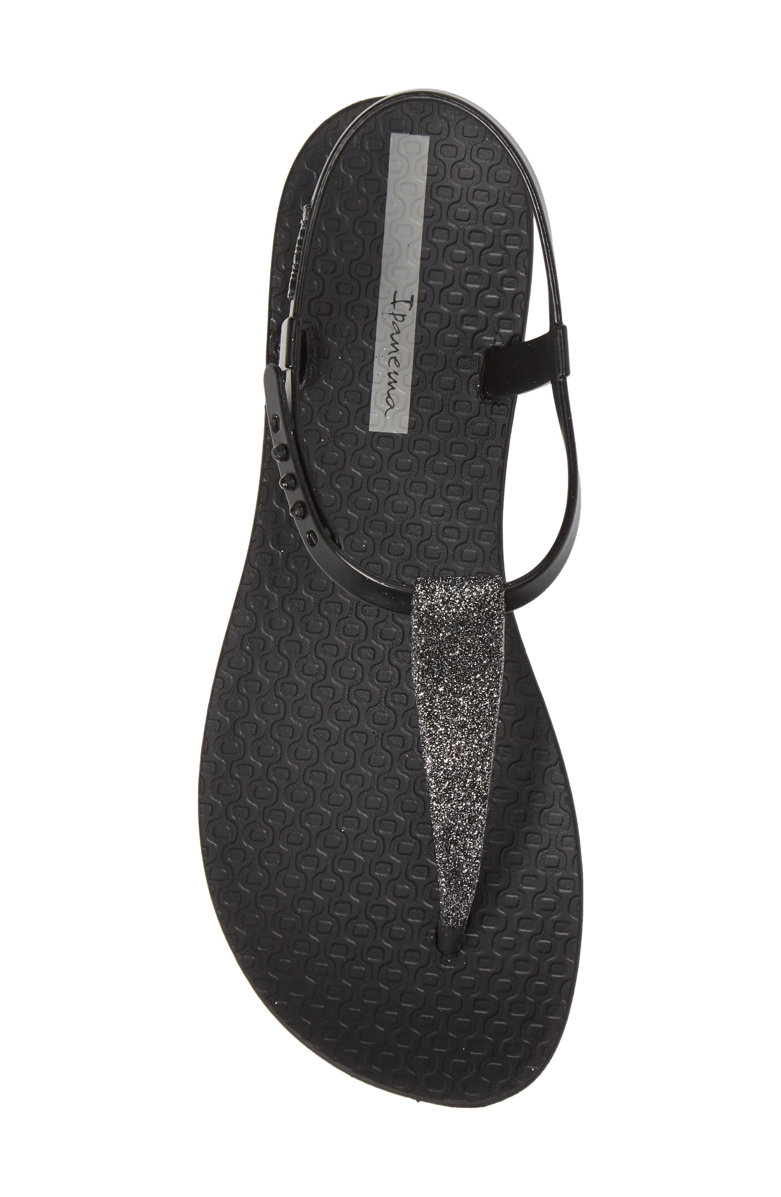IPANEMA,                             Shimmer Sandal,                             Alternate thumbnail 5, color,                             BLACK/ SILVER