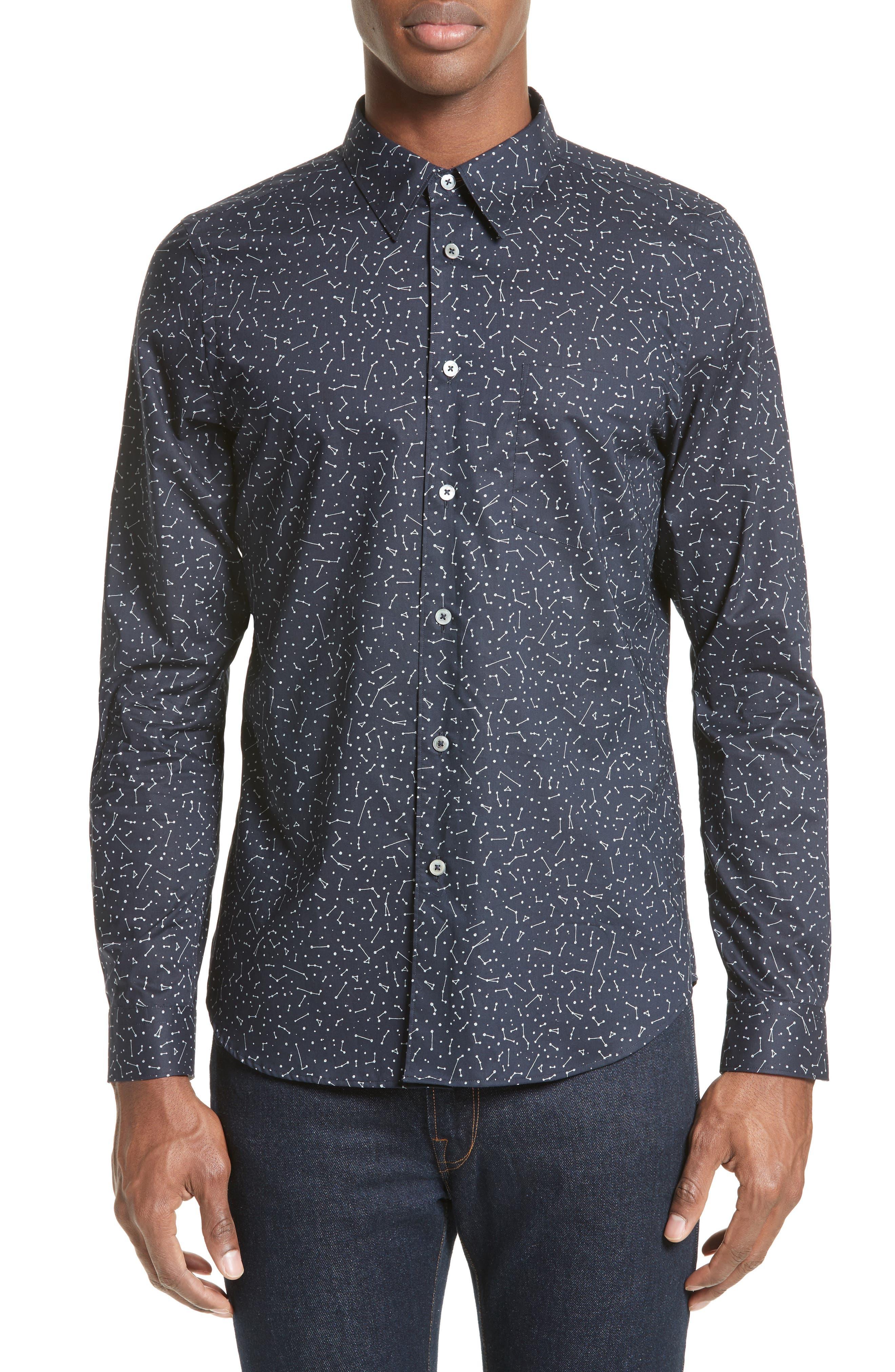 Extra Trim Fit Constellation Print Sport Shirt,                             Main thumbnail 1, color,
