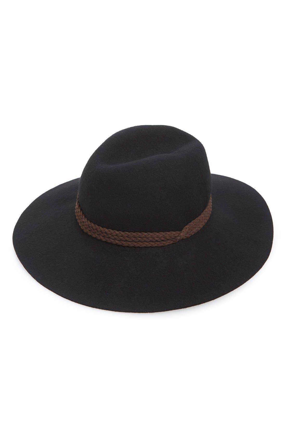 Floppy Wool Panama Hat,                             Main thumbnail 1, color,                             001