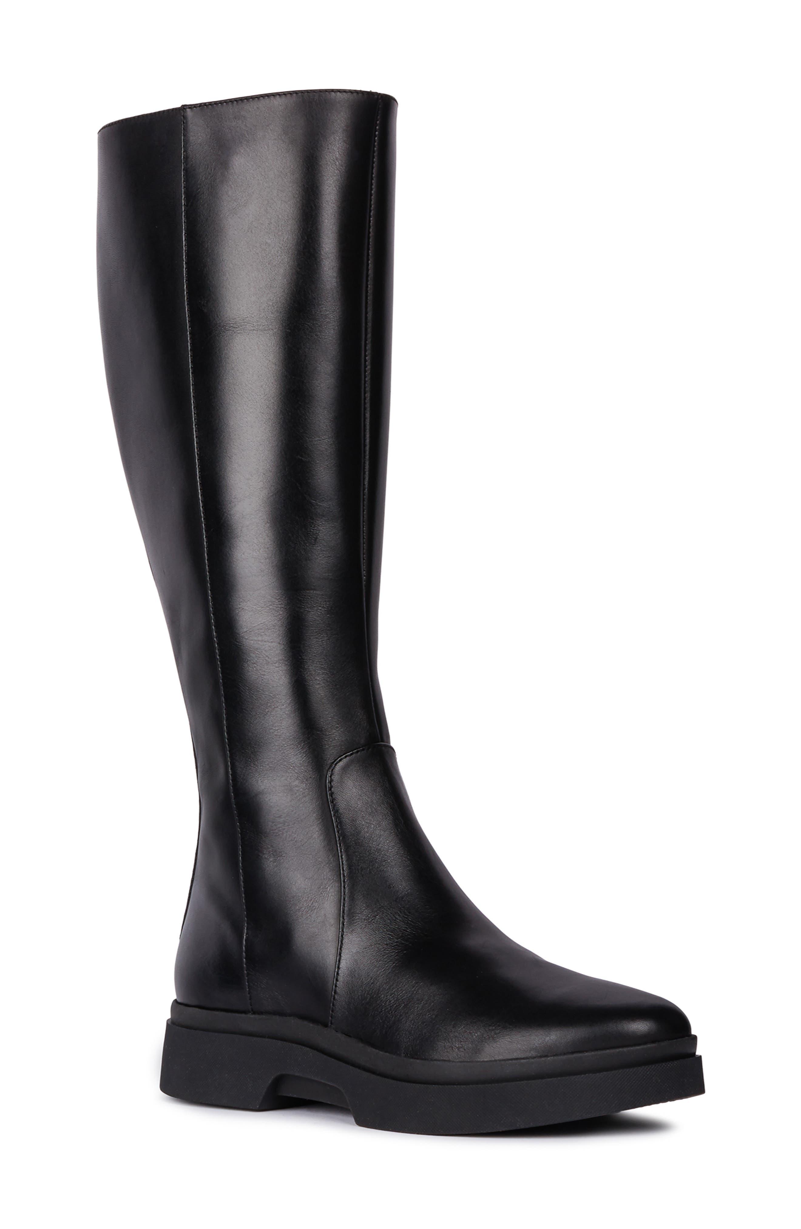 Geox Myluse Knee High Platform Waterproof Boot, Black