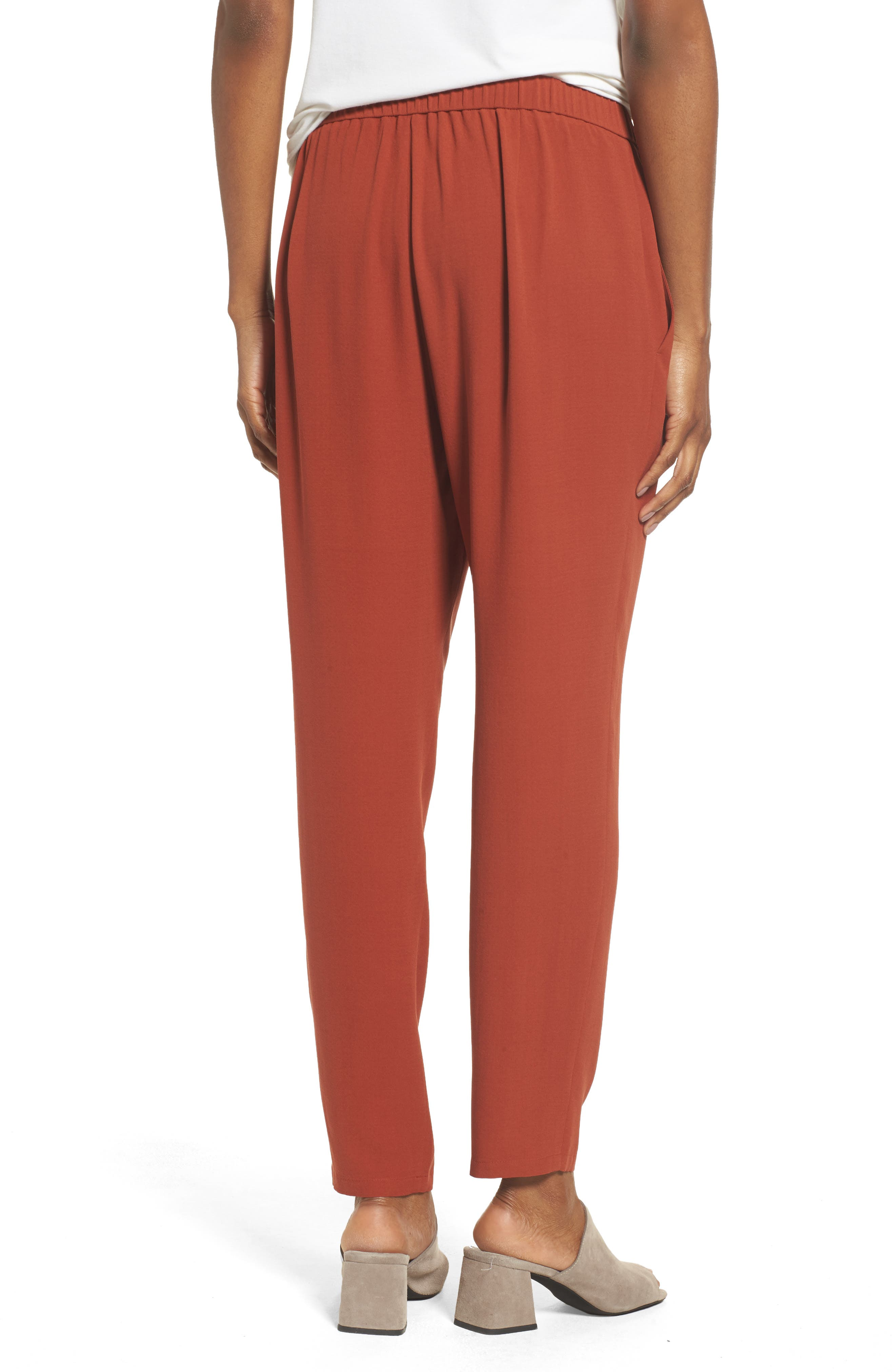 Slouchy Silk Crepe Ankle Pants,                             Alternate thumbnail 20, color,