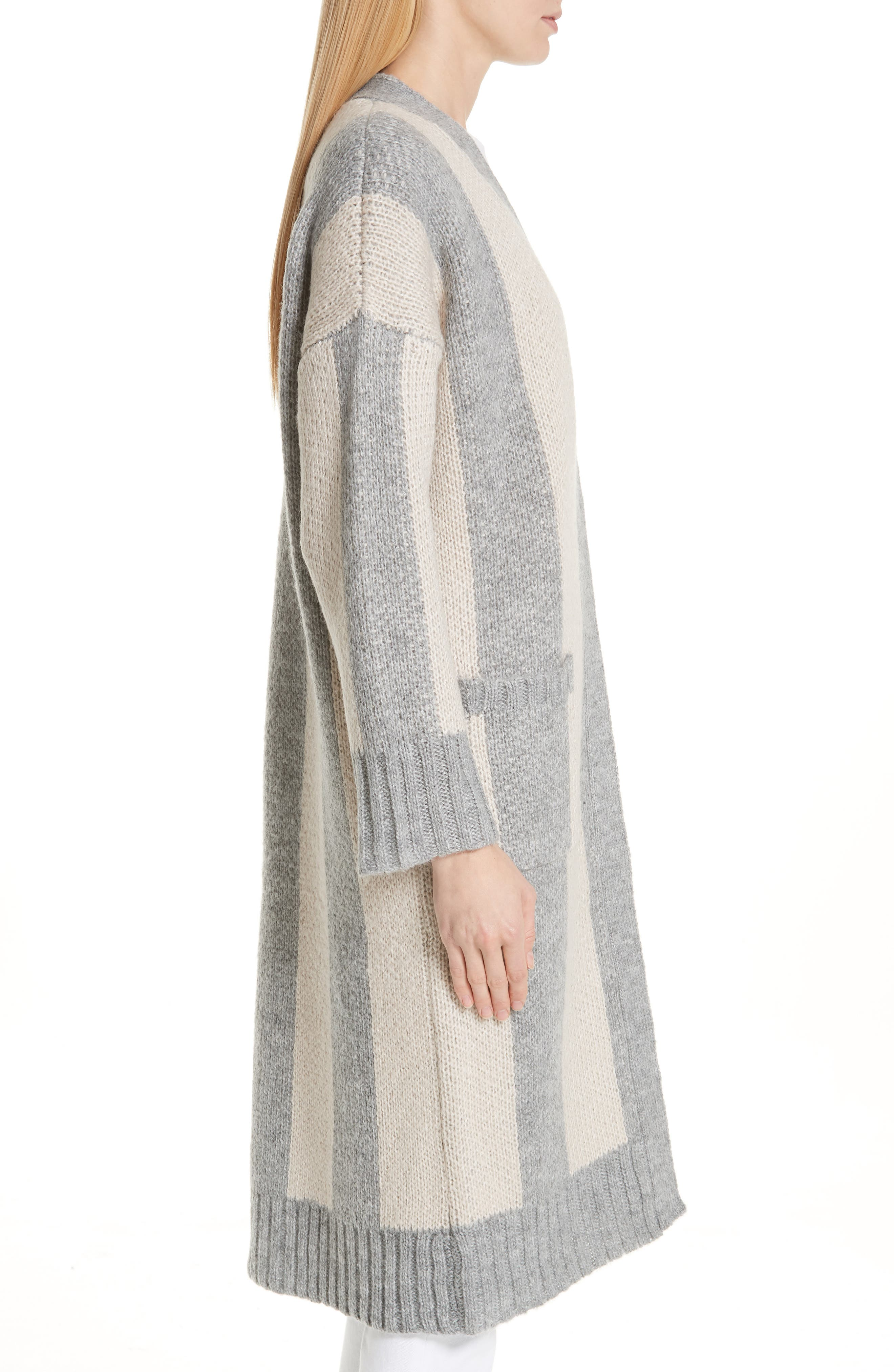The Duster Sweater,                             Alternate thumbnail 3, color,                             HEATHER GREY STRIPE