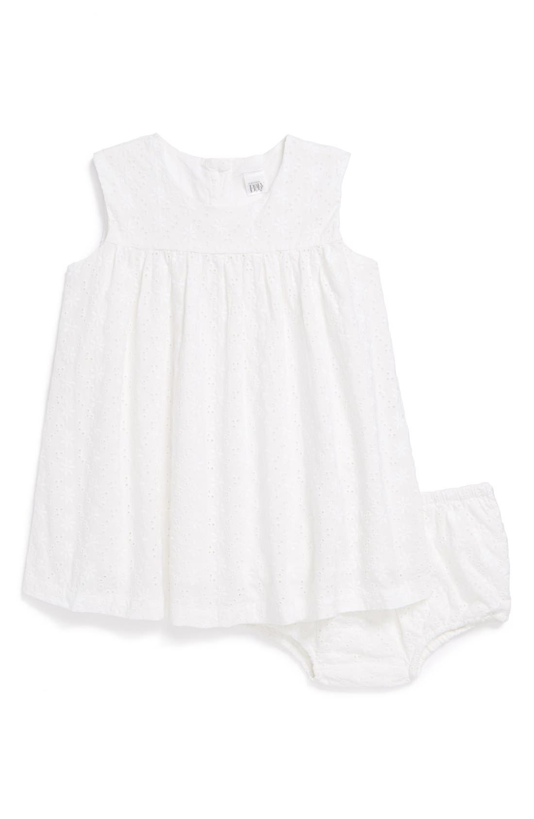 NORDSTROM BABY Eyelet Dress & Bloomers, Main, color, 100